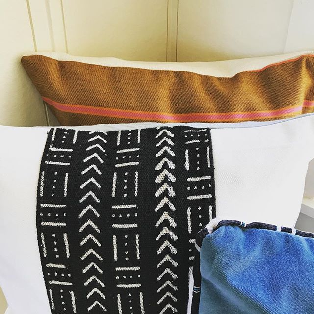 Which one fits your style? 🦋Blue Velvet. ✔️ ☁️Bright Whites. ✔️ 💕🧡Coral & Mustard Stripes. ✔️ A 20% OFF Pillow Sale, All Month Long?✔️ They all do!  Use Promo Code: POWERTOTHEPILLOW  #interiordesign #pillows #homedecor #handmade #california #mudcloth #mudclothpillow #bluevelvet #coral
