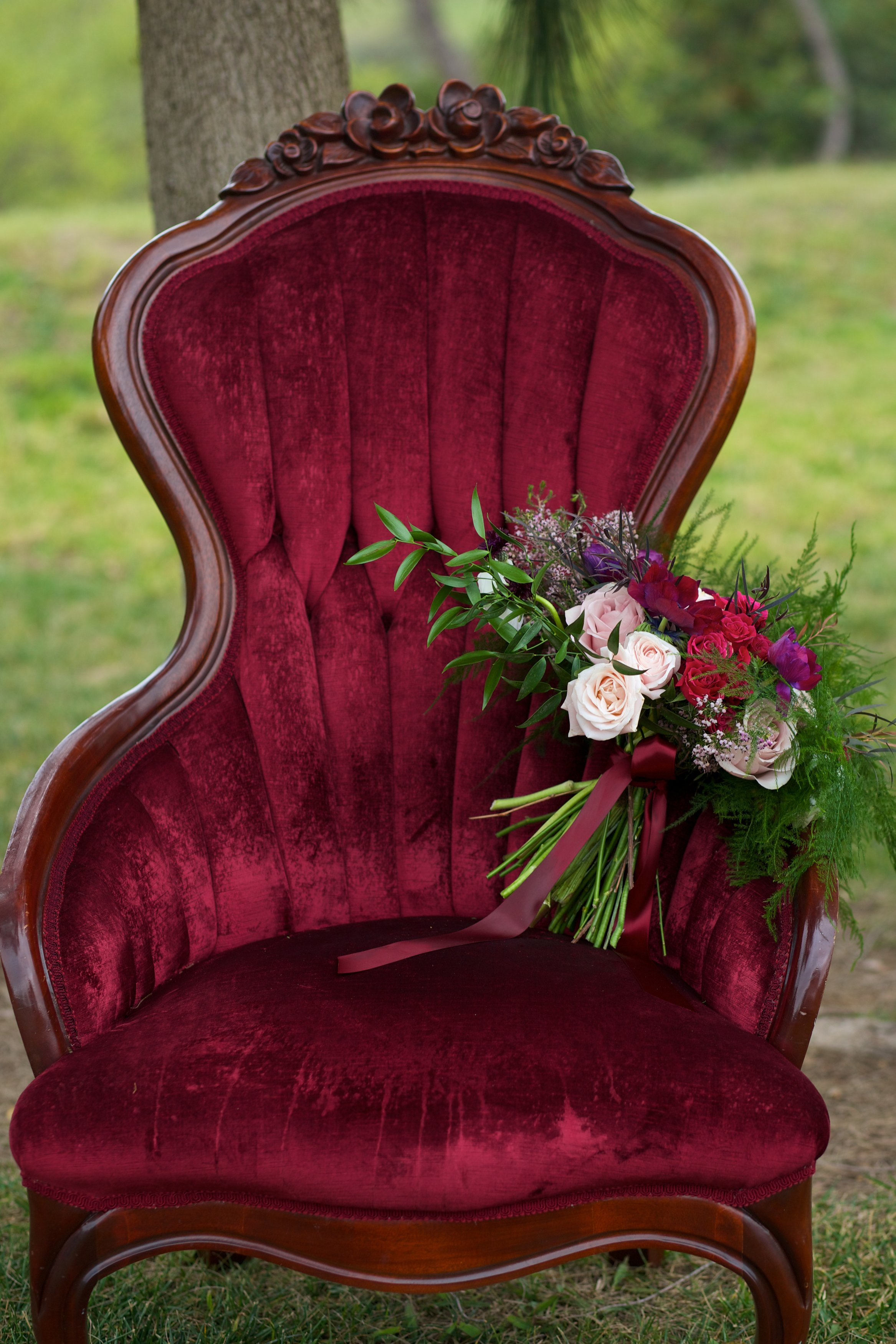 Victorian Dark Red Chair - (2)