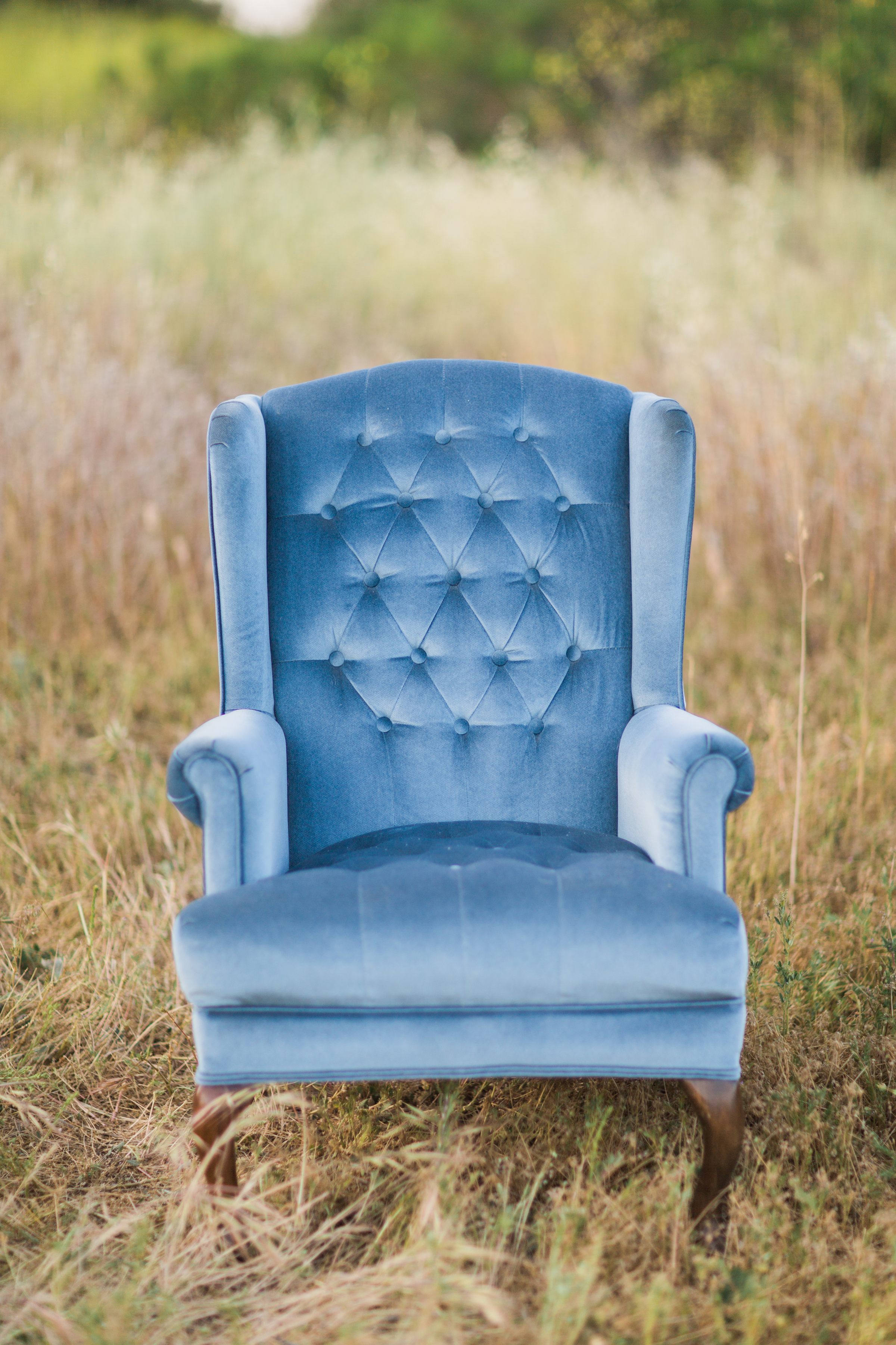 Tufted Blue Chair - (2)