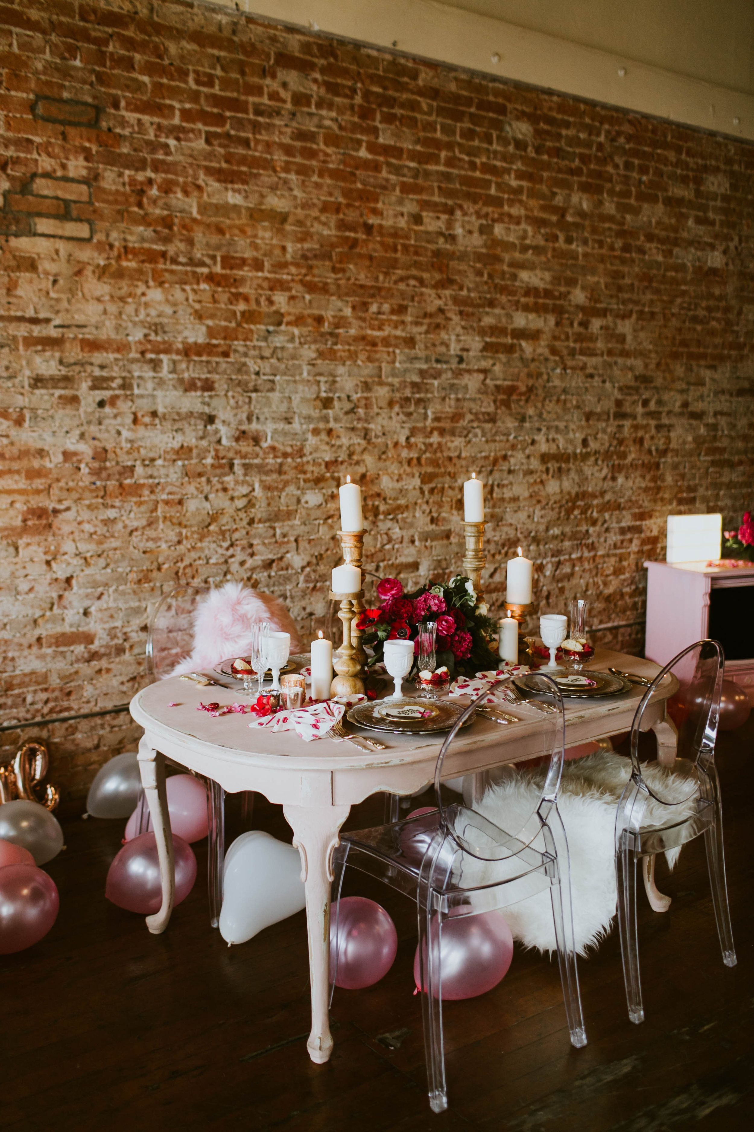 Distressed Pink Dining Table - (1)