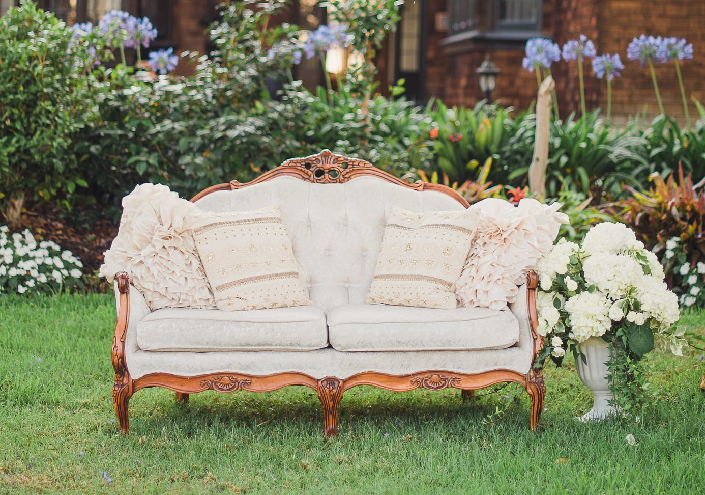 Tufted Ivory Love Seat - (1)