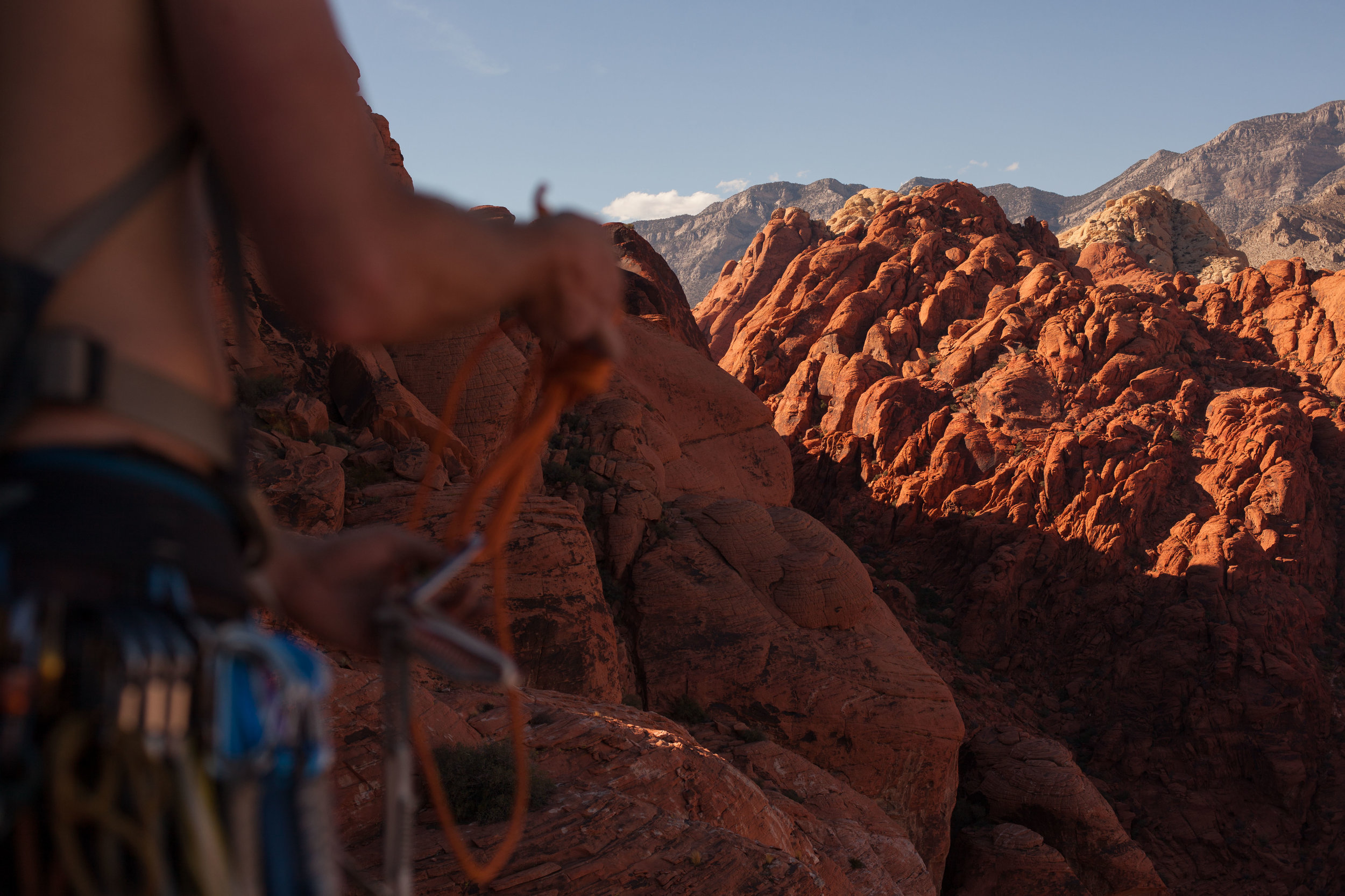 Graham gearing up on a climb in Red Rocks