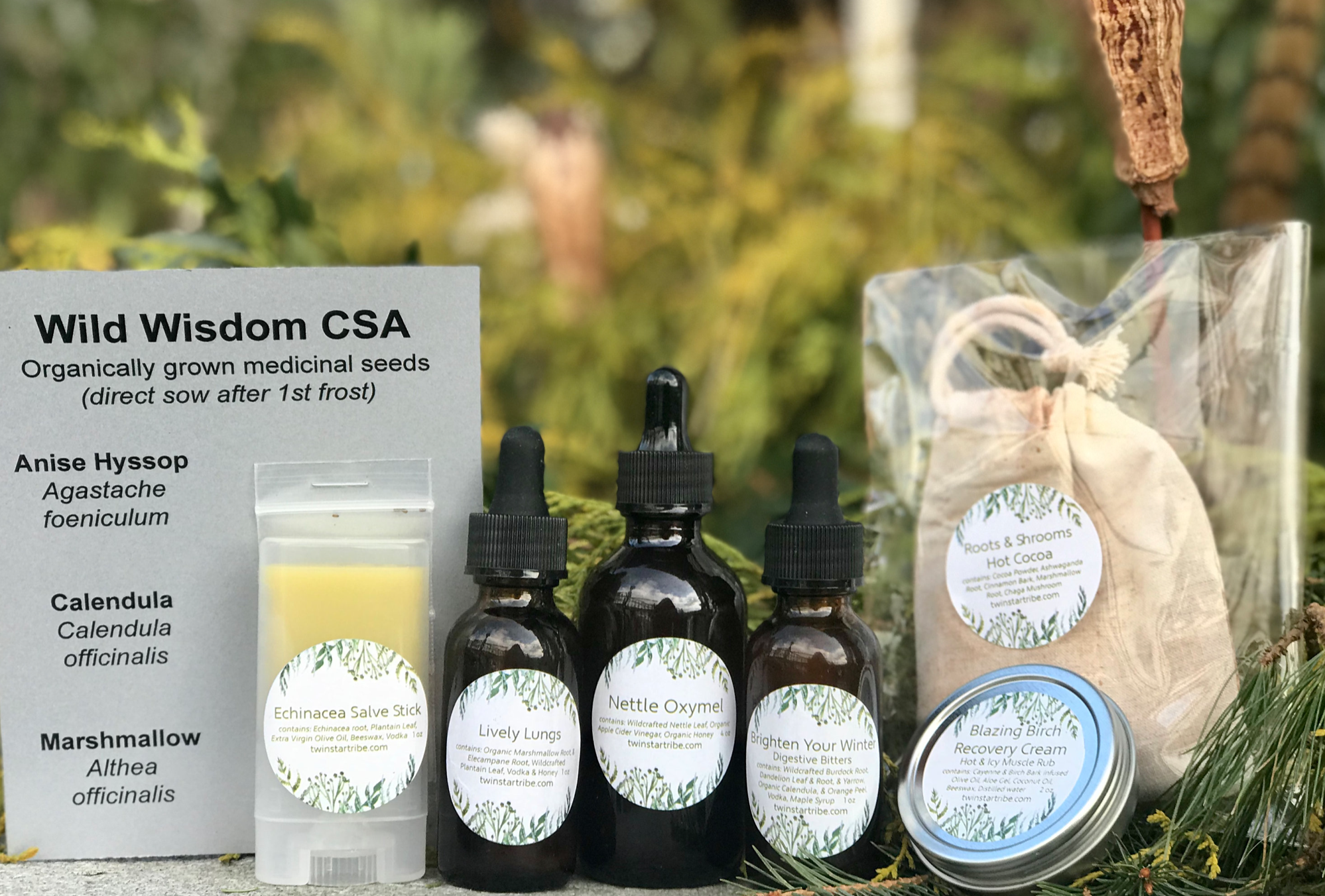WINTER BOX: - Blazing Birch, Recovery Cream, Nettle Oxymel, Roots & Shrooms Hot Cocoa, Brighten Your Winter Bitters, Echinacea Salve Stick, Lively Lungs Tincture and Medicinal Seed Packets.All of this comes with a beautifully written newsletter explain the traditional uses of these herbs and a little bit about the products!