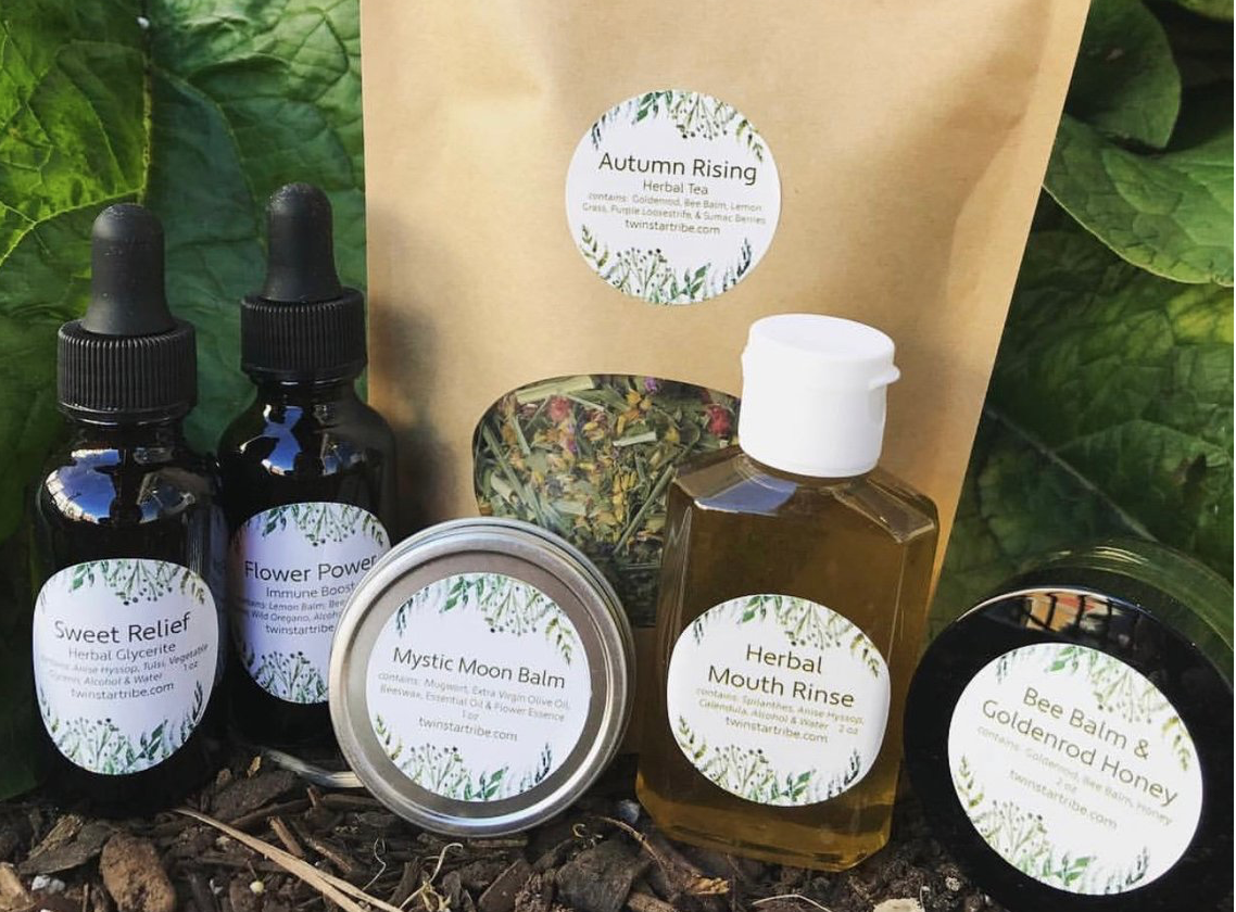 FALL BOX: - Autumn Rising Tea, Bee Balm & Goldenrod Honey, Herbal Mouth Wash, Mystical Moon Balm, Sweet Relief, Herbal Glycerite, Flower Power and Immune Boost. All of this comes with a beautifully written newsletter explain the traditional uses of these herbs and a little bit about the products!