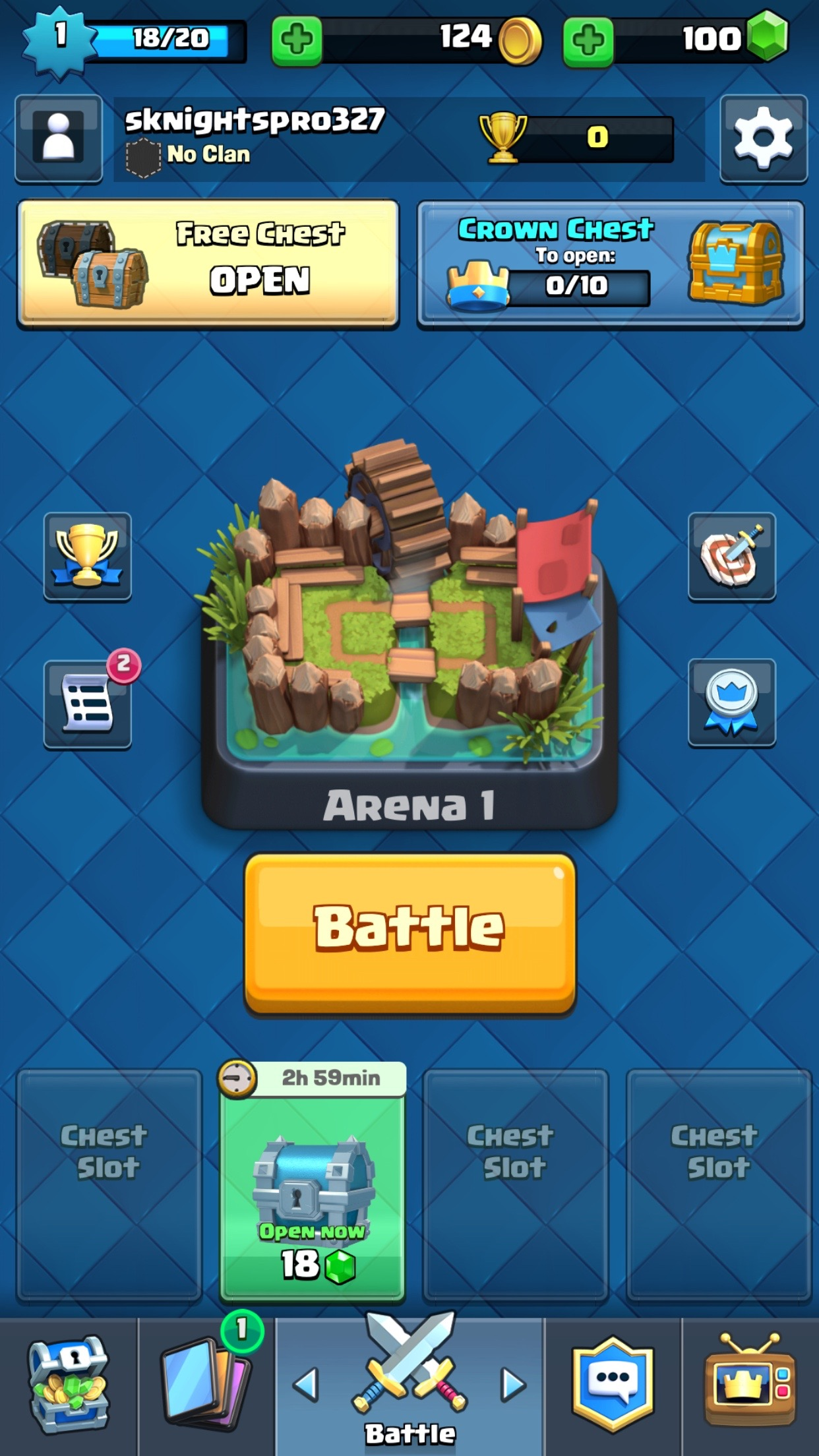Crown chests and free chests keep players interested after their first loss