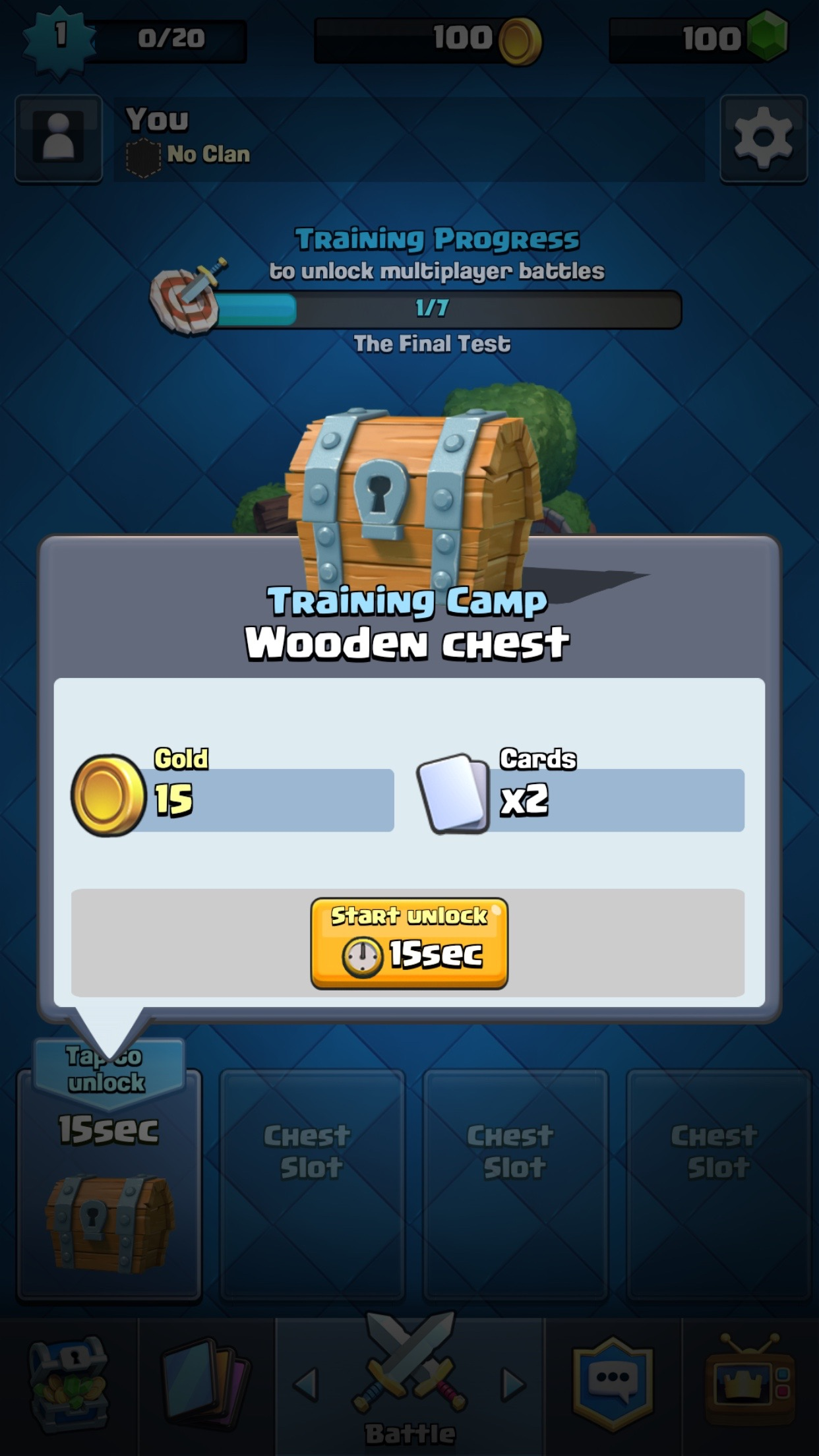 A 15 second timer training camp chest