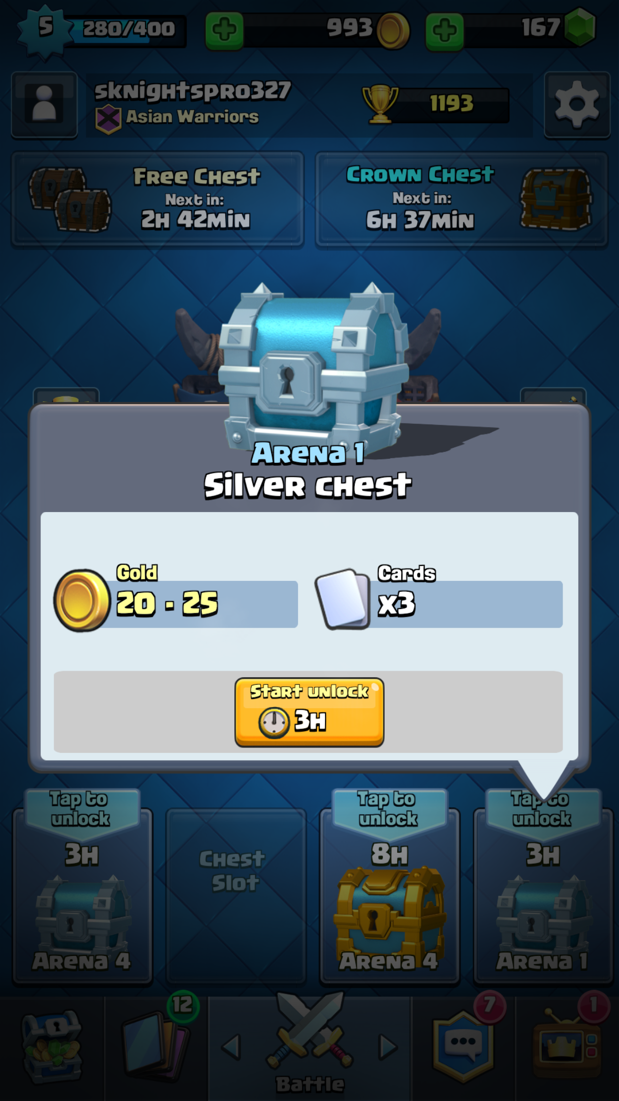 A 3 hour silver chest you get after training