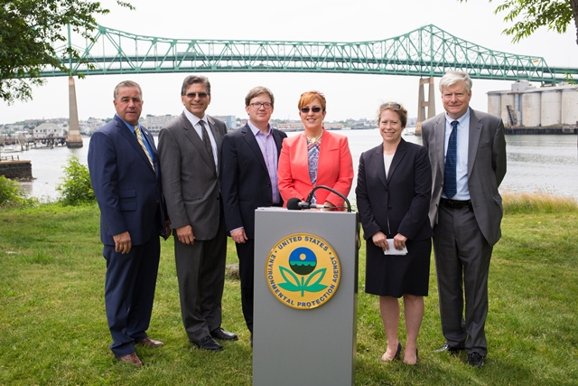 The Report Card announcement took place at Mary O'Malley Park in Chelsea on June 29, 2017. Left to right: Representative Joe Mcgonagle; homas Ambrosino, City Manager, Chelsea; Patrick Herron, Executive Director, Mystic River Watershed Association; Acting Regional Administrator Deb Szaro, U.S. EPA; Deputy Commissioner Beth Card MassDEP; Fred Laskey, Director, Massachusetts Water Resources Authority. We were joined by Chris Smith of Senator Sal DiDomenico's office, Kate Chang from Representative Capuano's office, Wade Blackman and Kelsey Perkins from Congresswoman Clark's office, as well as Roseann Bongiovanni of GreenRoots.  Photo © Robert Castagna.