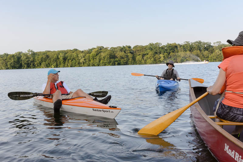 Rick Beinecke, leading a kayak tour on the Lower Mystic Lake. © David Mussina