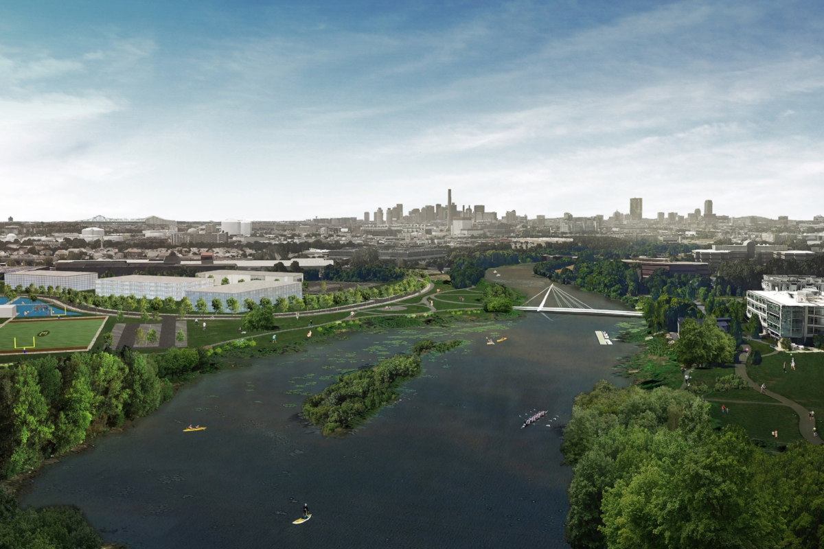 Proposed rendering of the Malden River Greenway looking south towards downtown Boston (credit: Utile Design).