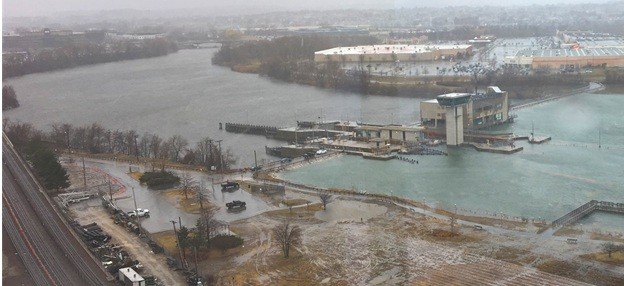 Near-flanking of the Amelia Earhart Dam during March 2018 Nor'easter Riley. (Photo credit: David Burson)