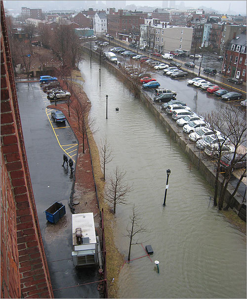 Flooded East Boston Greenway, March 2010 (Credit, Lisa DiFrisco)