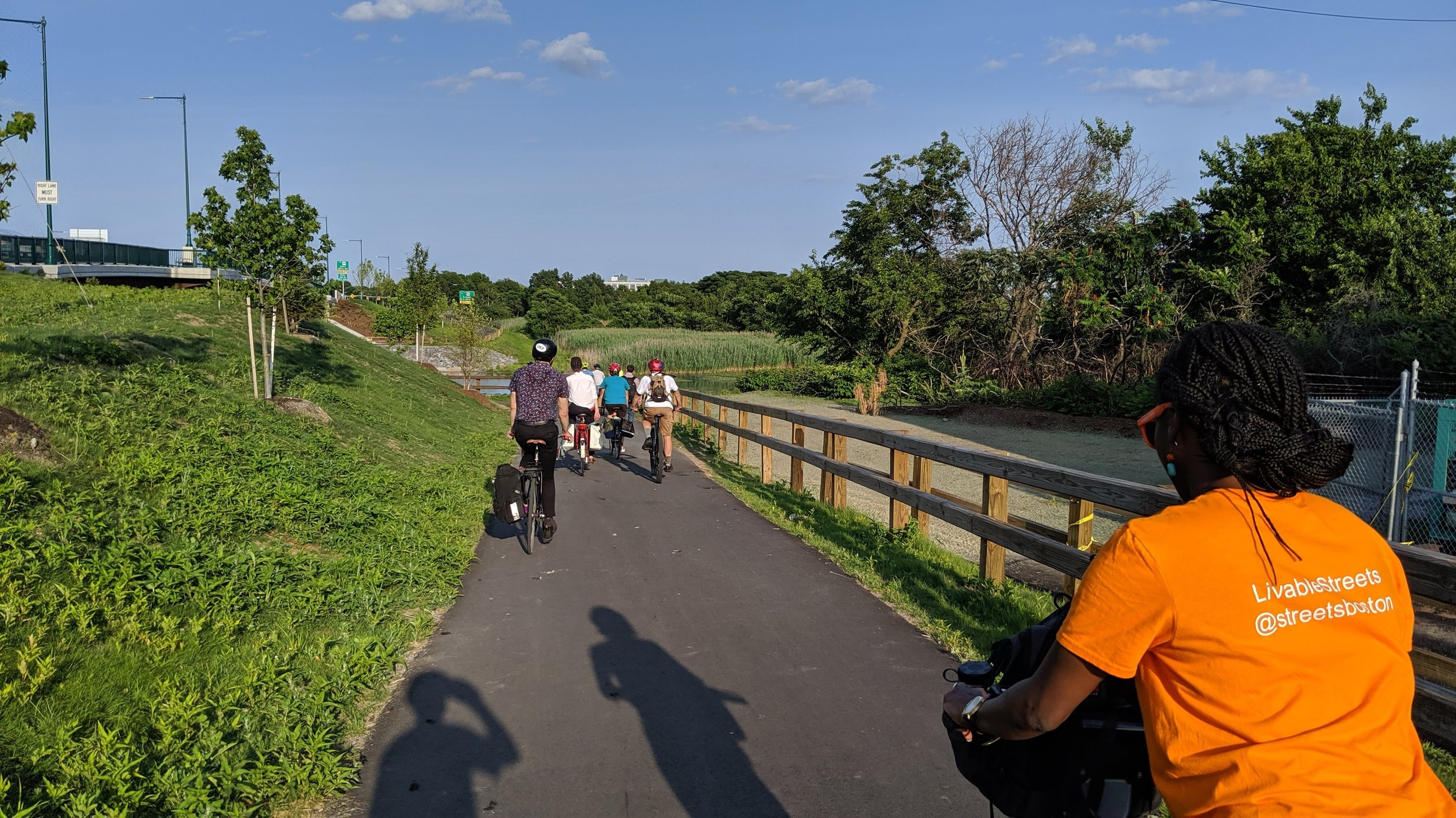 Here's our group at the end of the Wellington Greenway on the Malden River. The last 1/4 mile of this path is designed and permitted, and will connect to the new underpass--so you can stay along river and not cross through parking lots! - Medford