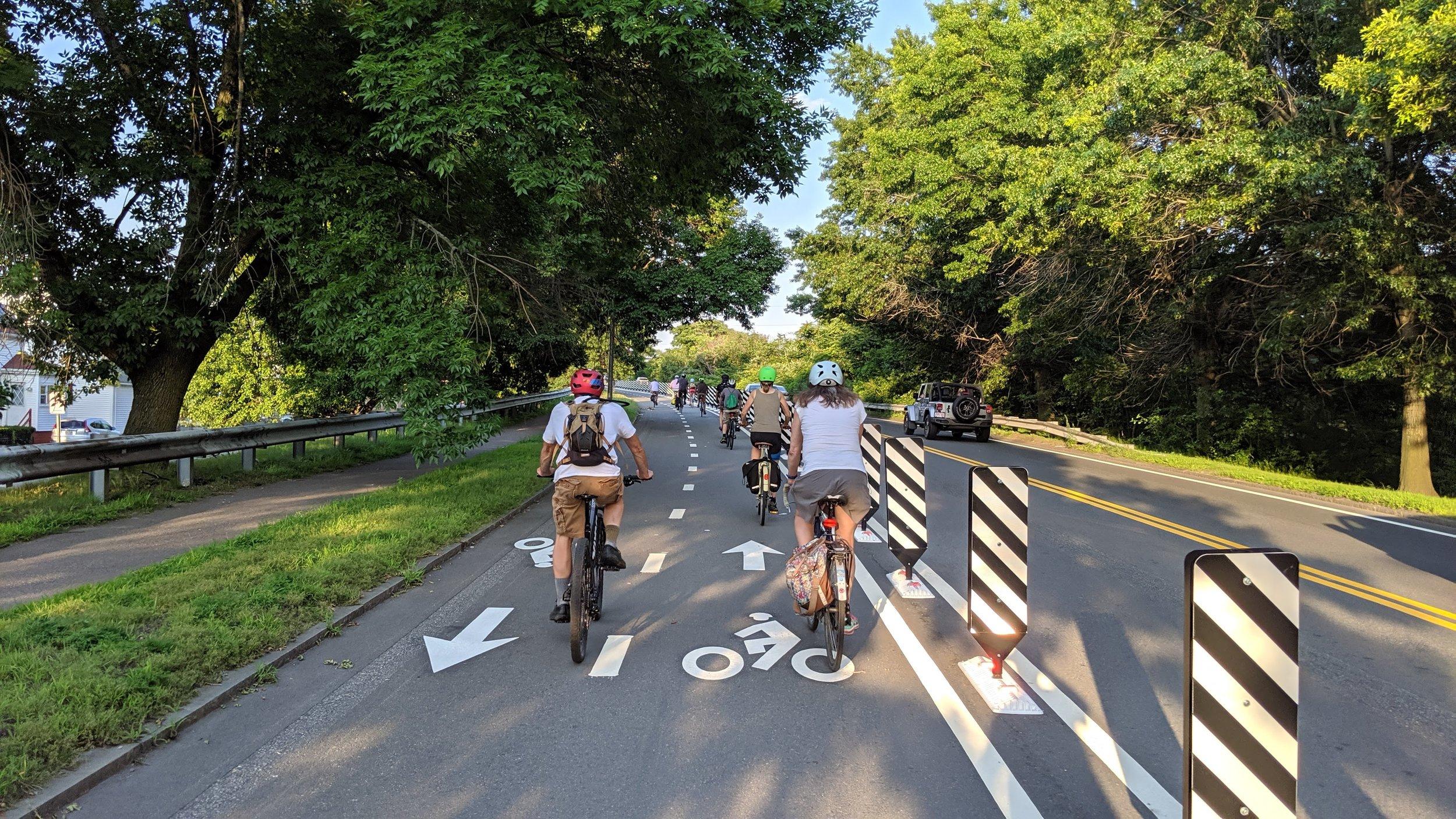 Brand new protected bike lane. - Everett