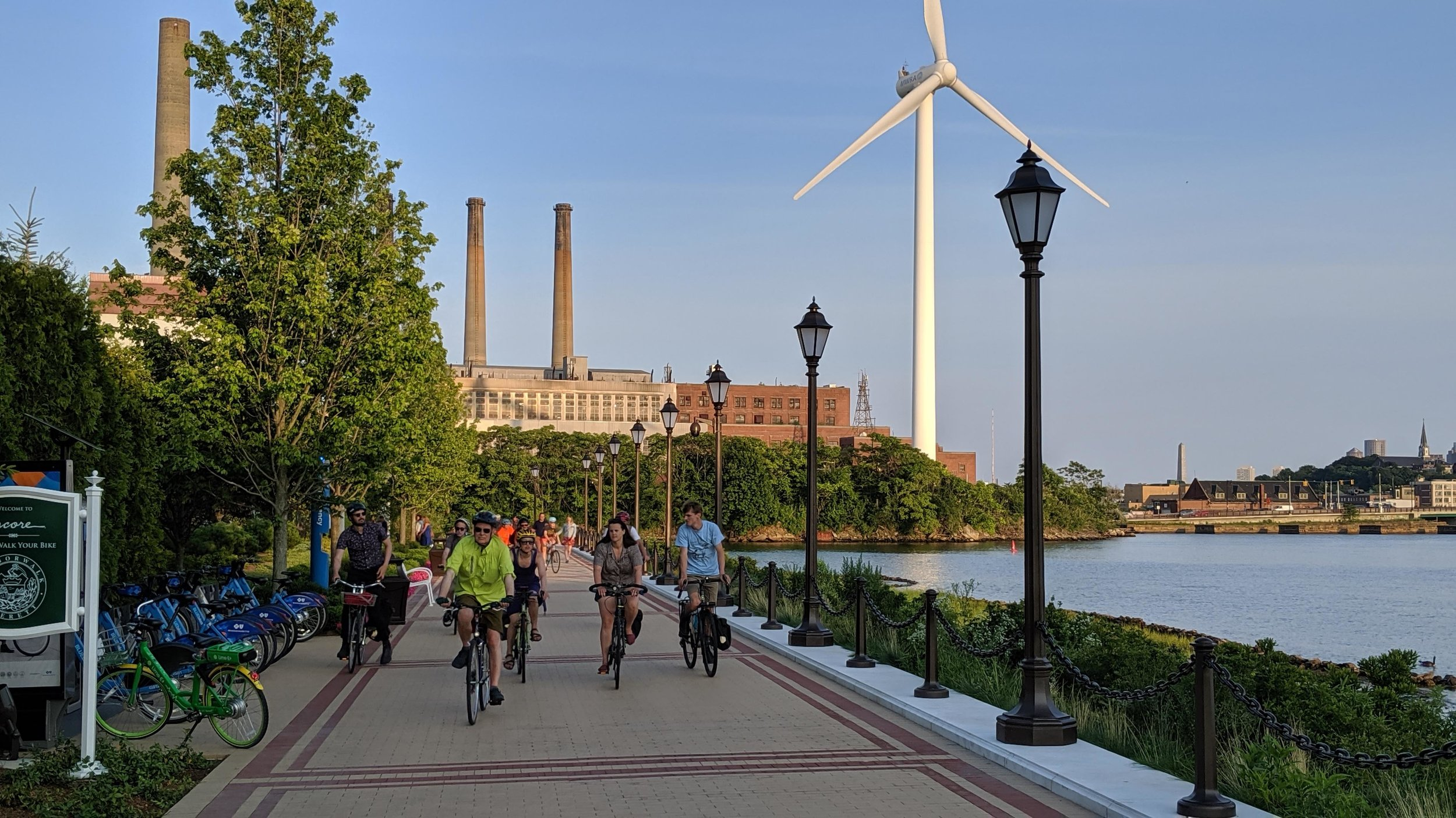Did you know-- you can now rent bikes via  Bluebikes at  Encore Boston Harbor  and at  Night Shift Brewing ? Here's one of the new stations along the harbor walk. - Everett