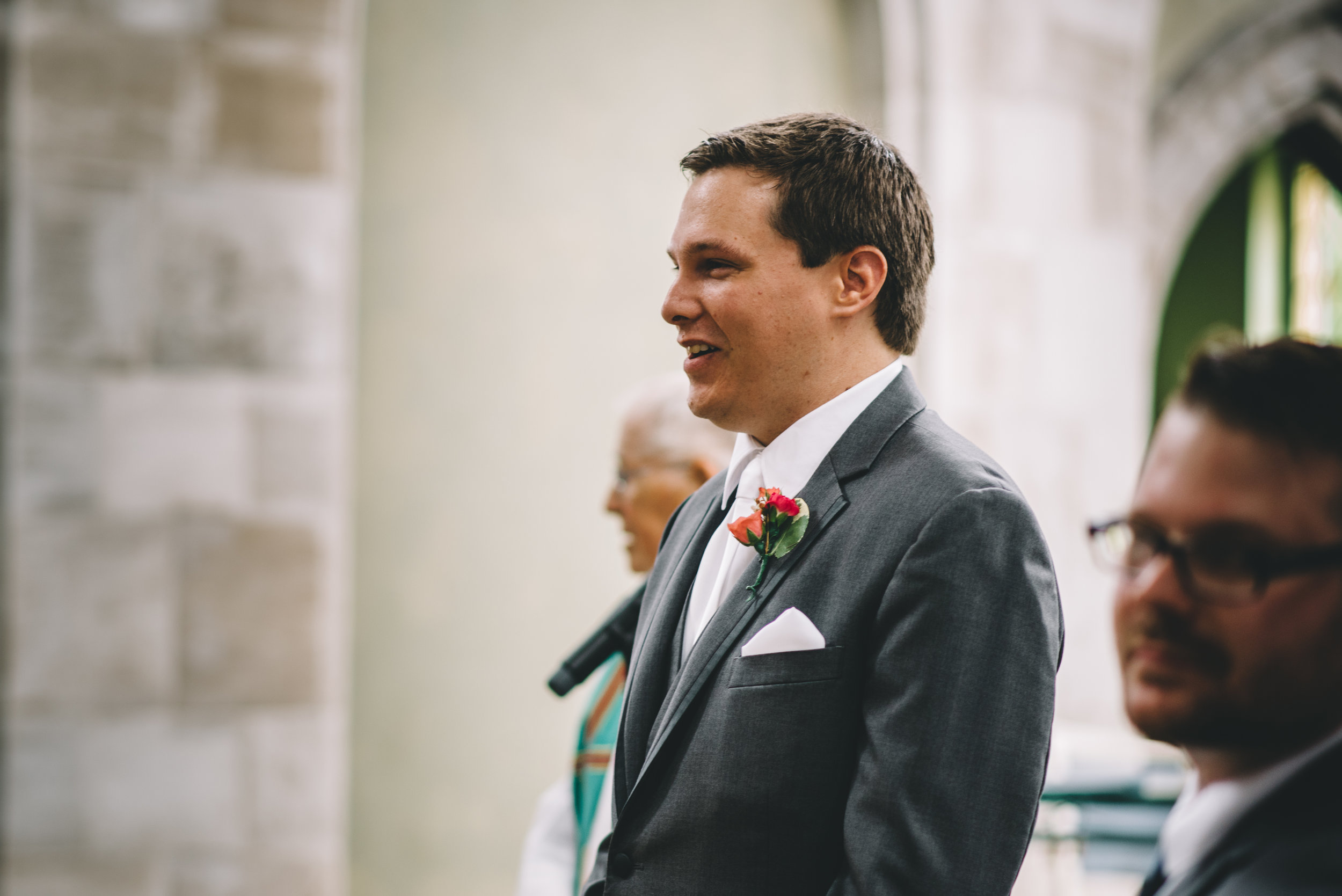 Groom Waiting Mocha Tree Studios Ottawa Wedding and Engagement Photographer and Videographer Dark Moody Intimate Authentic Modern Romantic Cinematic Best Candid ALEX + BRIAN: THE MOUNT, PETERBOROUGH, ON