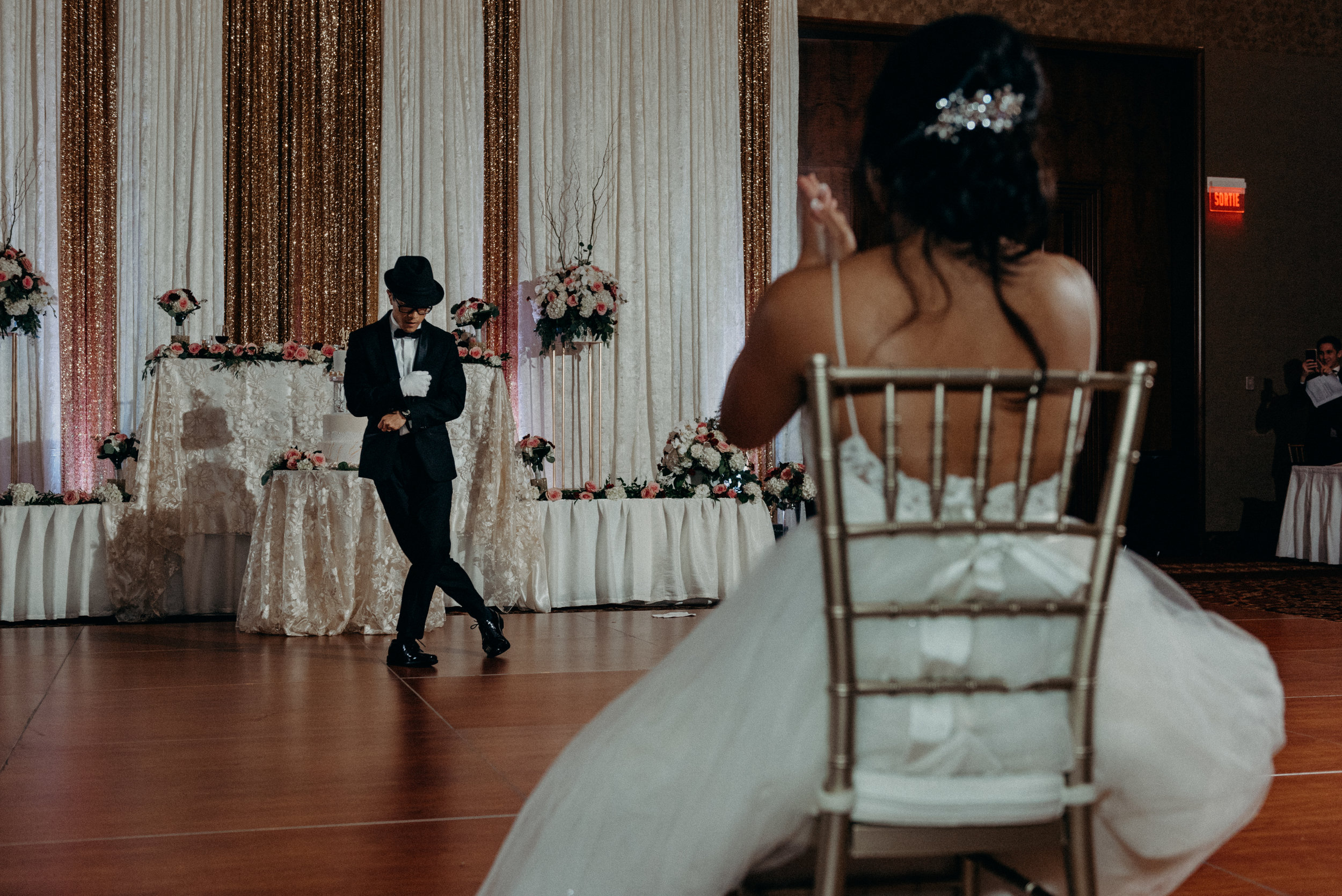 Groom dances to the bride Lac Leamy Wedding