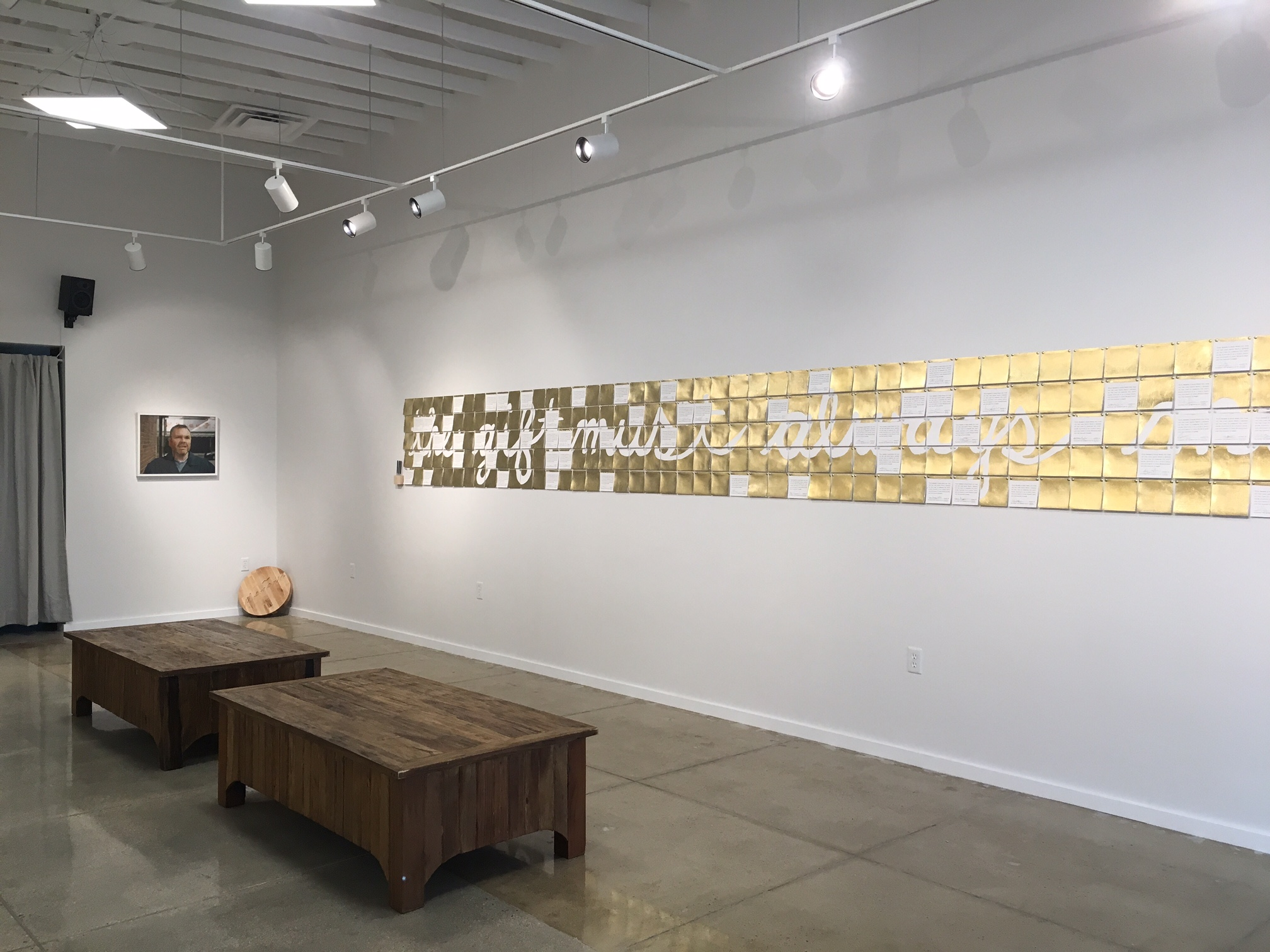 "Exhibition View of  ""Just...""  and ""En la Tierra del Mañana"" by Erik Benjamins and  ""Public Cards of Affection""  by Kristen Dikio"