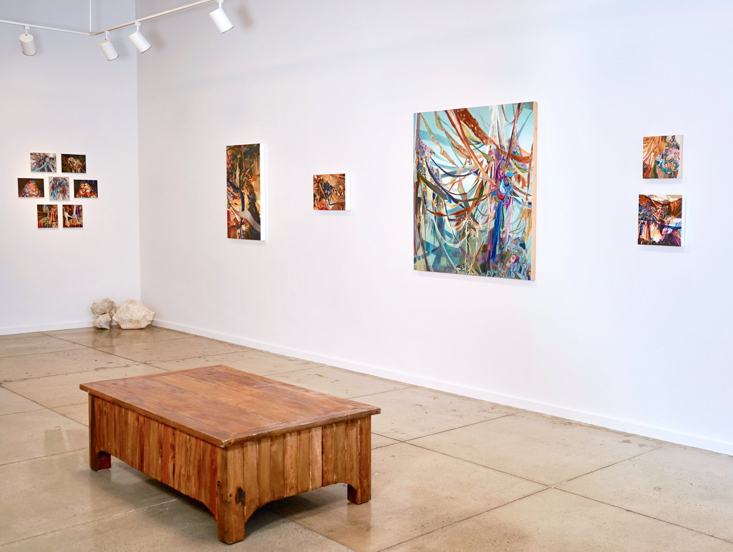 Exhibition view of Consumed, featuring works by Vida Liu and Erika Ostrander