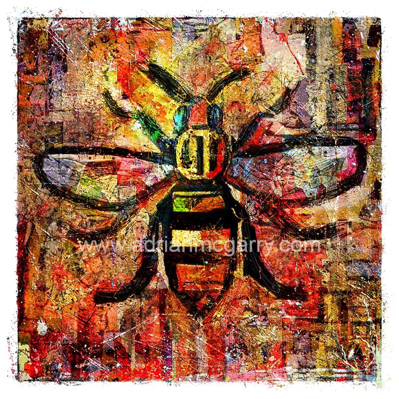 Manchester Bee  Worker Bee  Mosaic  Tiles  Fine Art  Photo  Print  Town Hall  Manchester A3A4 mounted print