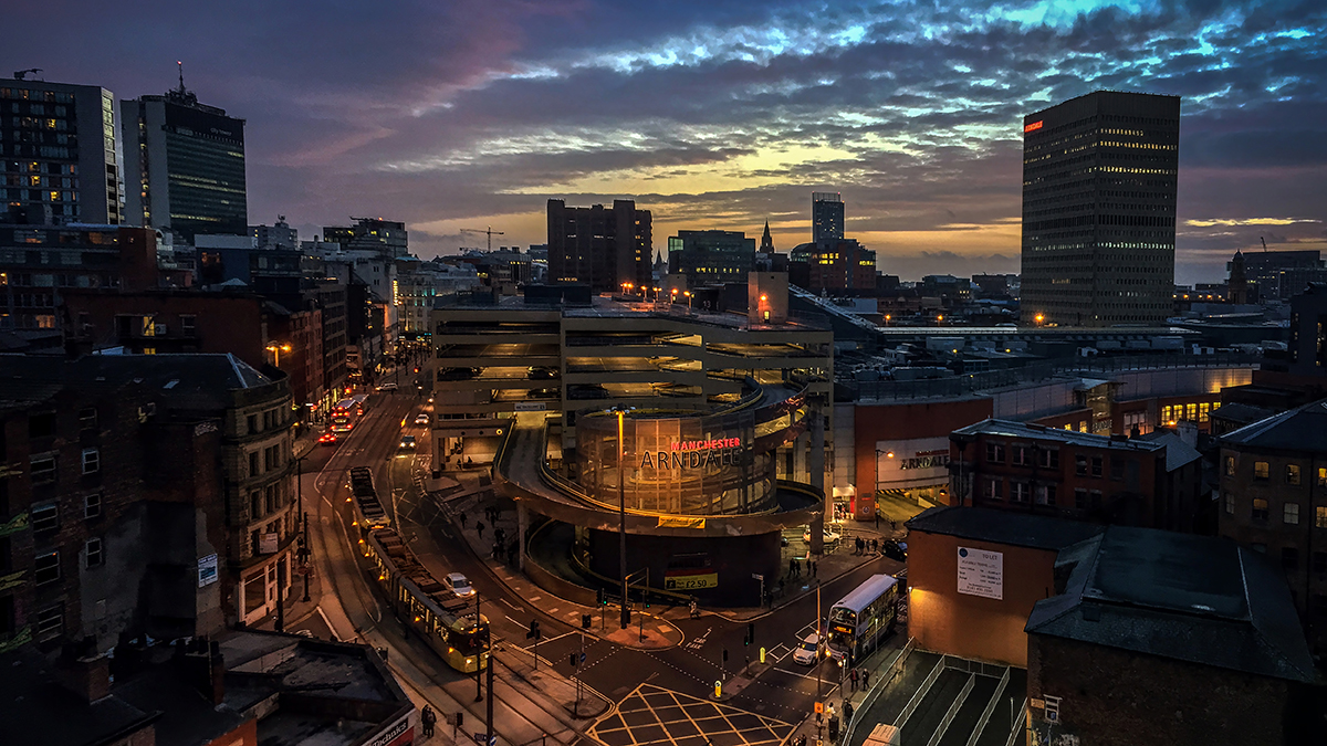 A cityscape of Manchester just after sunset. iPhone 6 Plus image. © Adrian McGarry.