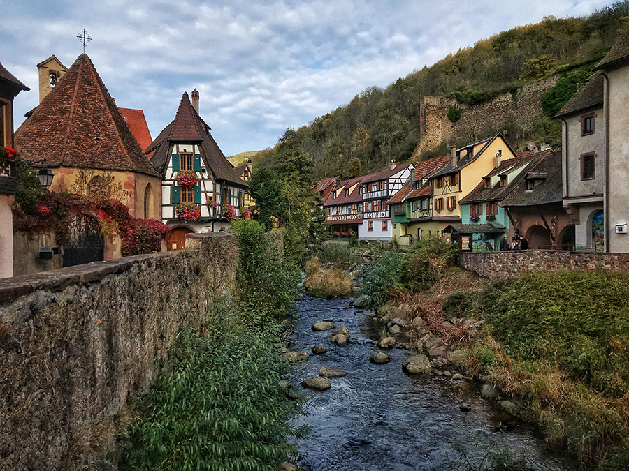 The River Weiss runs through the town of Kaysersberg