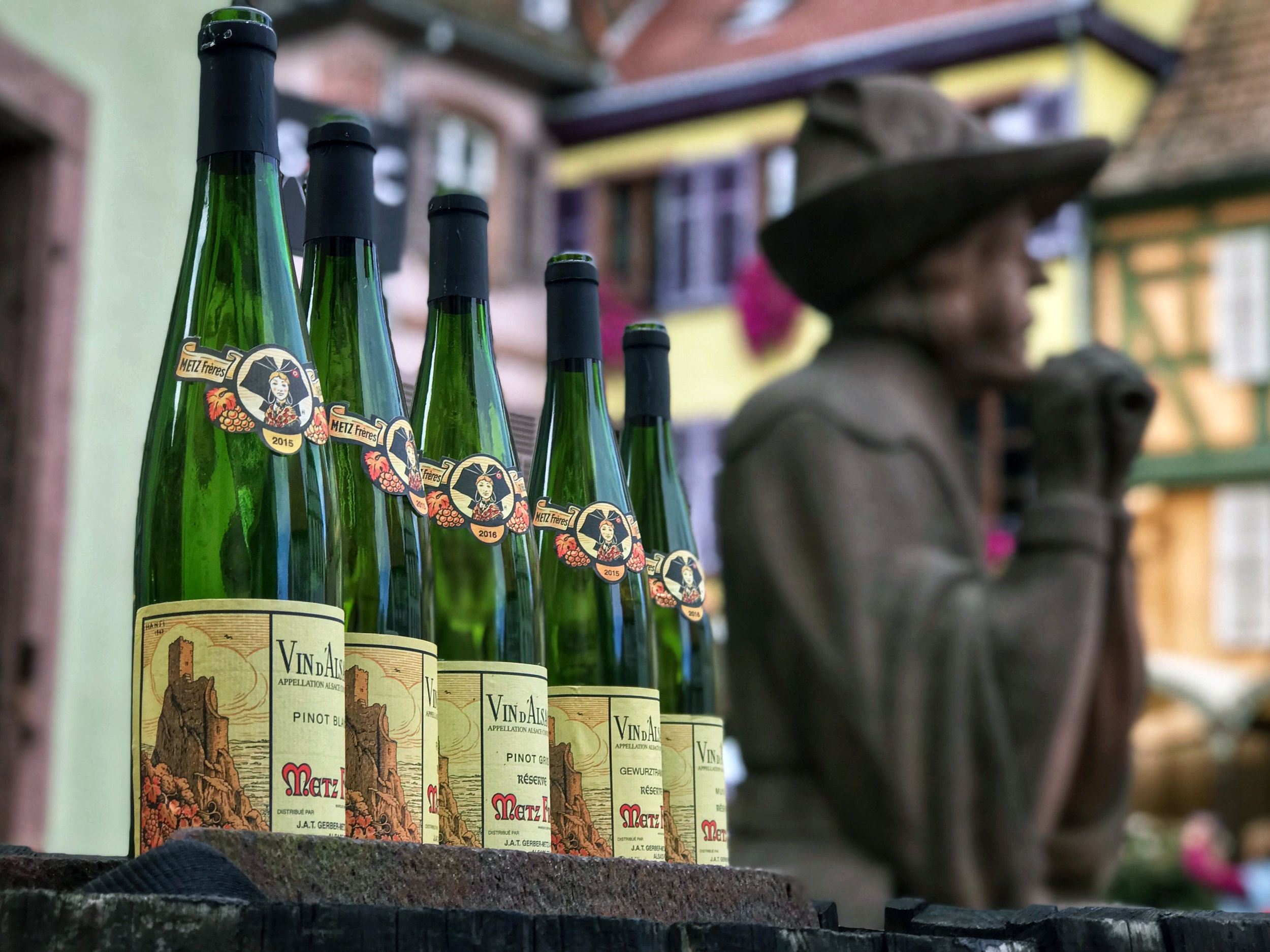 Plenty of reminders of the Alsace wine trade