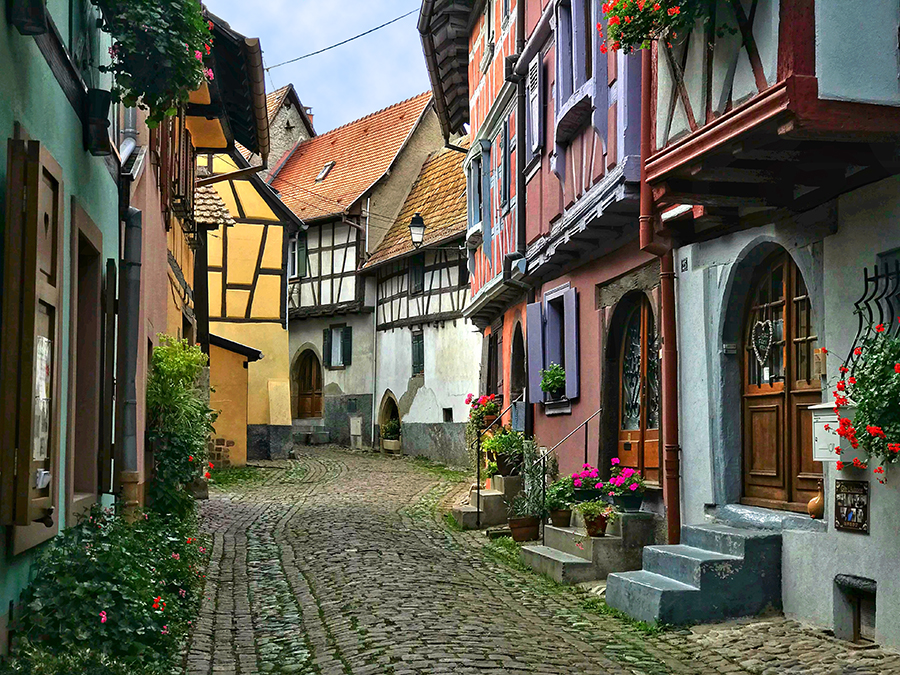 The narrow cobbled streets of Eguisheim transport you back in time