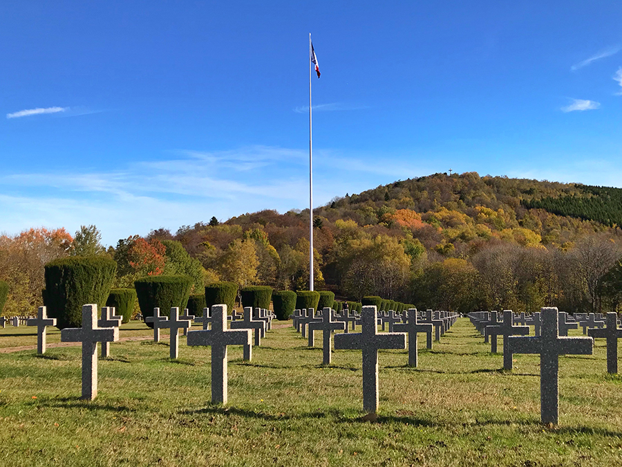 The cemetary of memorial at Hartmannswillerkopf faces the mountain where so many fell
