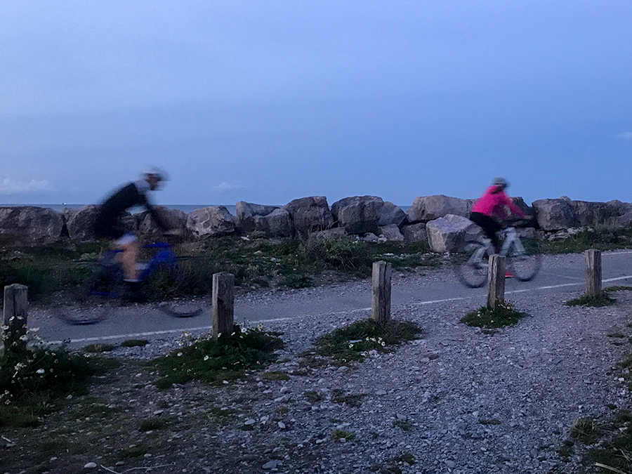 Cyclists on North Wales Coastal Path