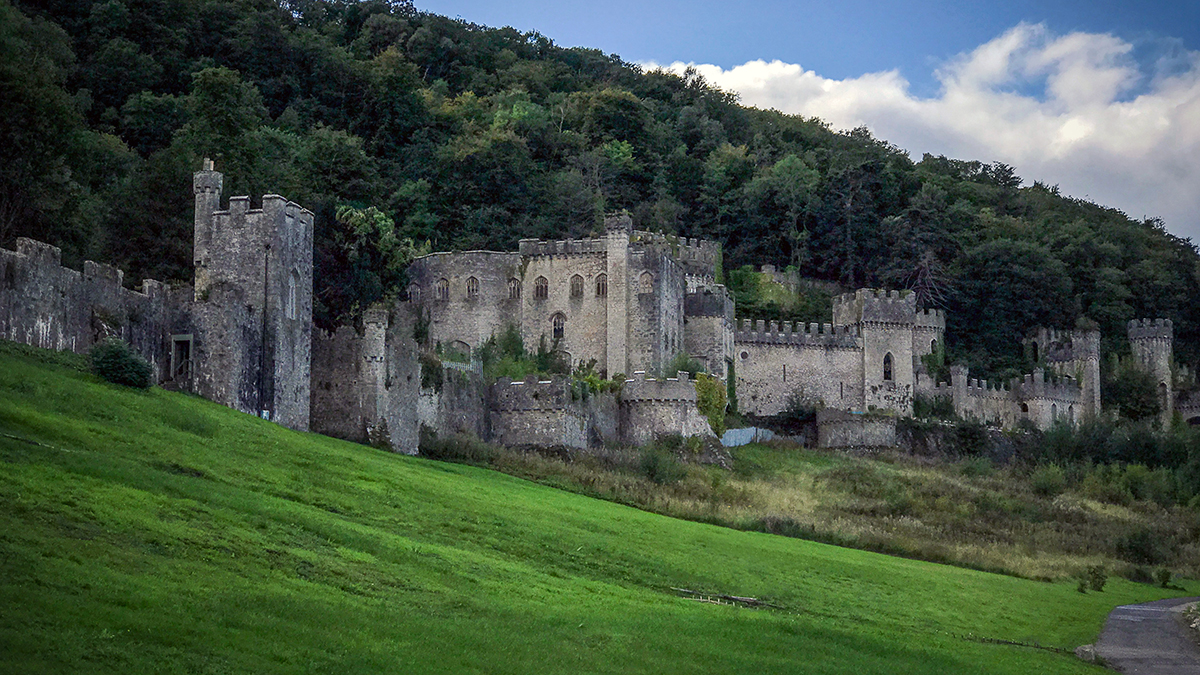 Gwrych Castle sits in woodland above Abergele near the North Wales coast.