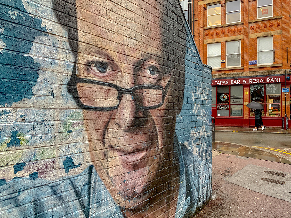 A mural of Manchester music legend Tony Wilson by Akse.