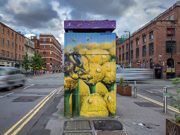 Street Art Inspiration - Manchester's vibrant, ever-changing, street art scene has been at the forefront of bringing the bee icon to everyday scenes. Street artists have created amazing works around the city.
