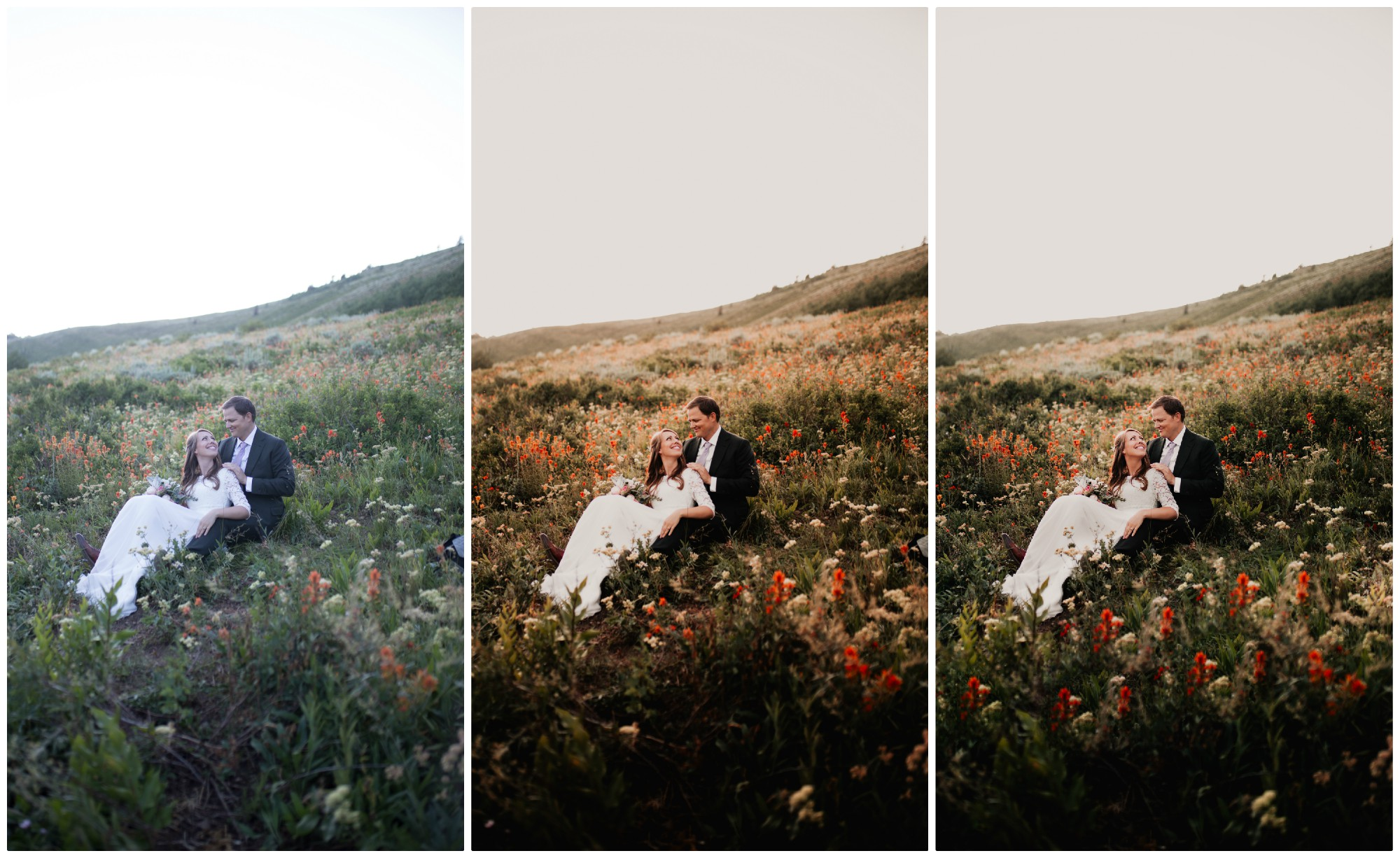 Left: RAW Middle: Color Correcting Right: Custom Color Correcting/Re-touching