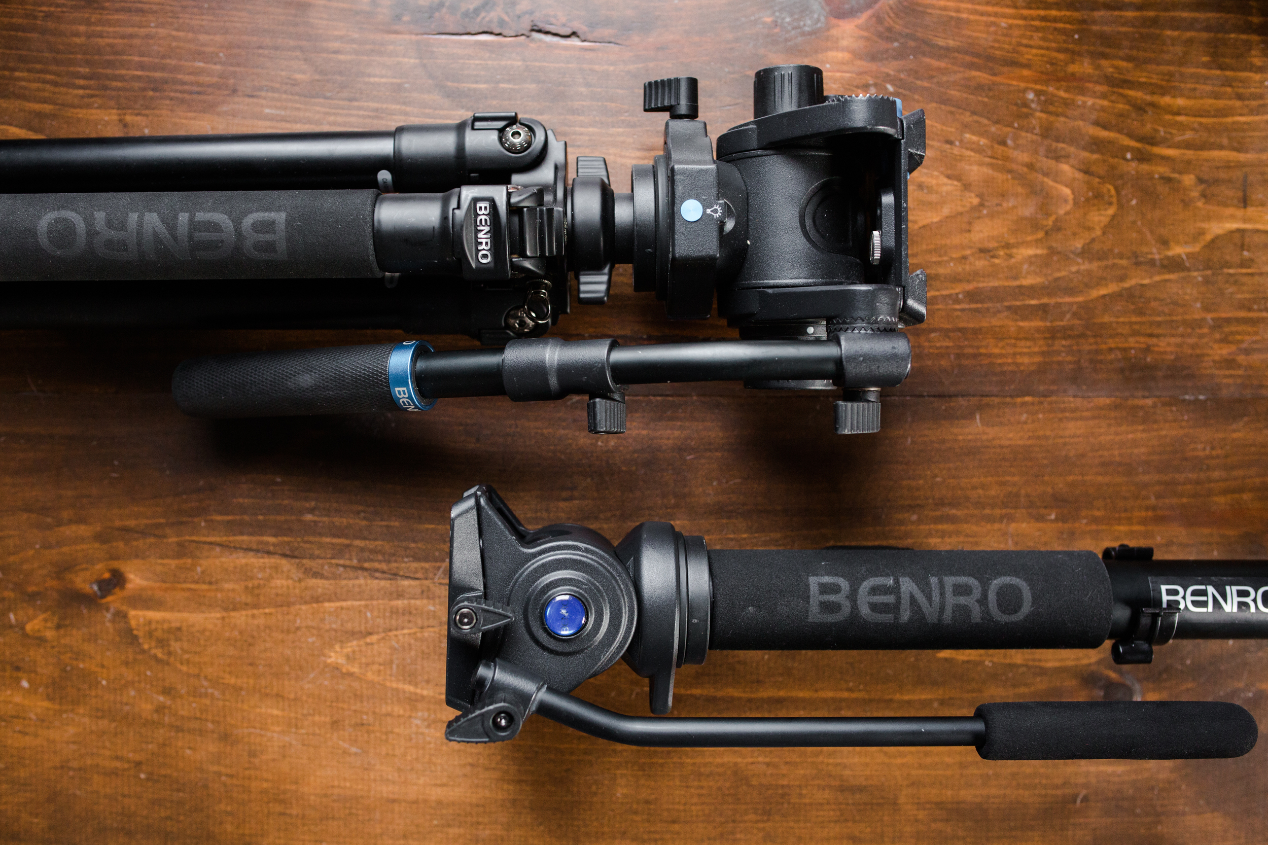 These are my main camera stabilizers.  Benro tripods with S6 fluid heads and a Benro monopod with an S4 fluid head.  Most of the day I am shooting with my C100 on the monopod.