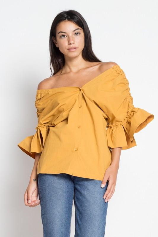 Off-Shoulder Blouse with Cinched Detail