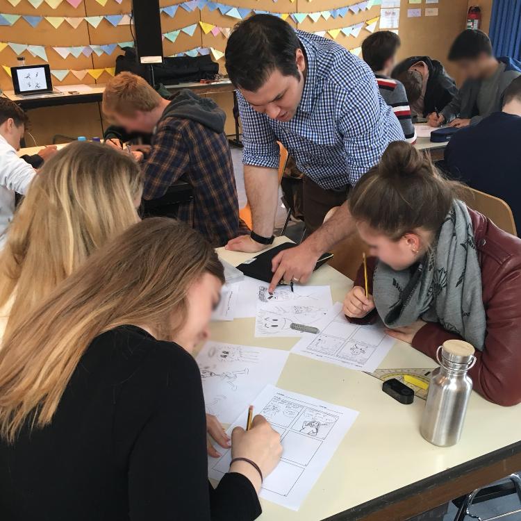 Matt working with 11th graders at Munich international school