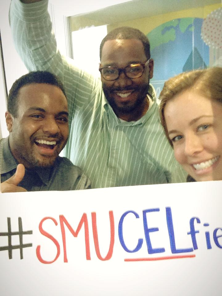 "from Bailey: ""our office is the Community Engagement & Leadership Center (CEL for short), so we take ""CELfies"" with the students. In this pic are two of my work BFFs, Rashad and Steve."""