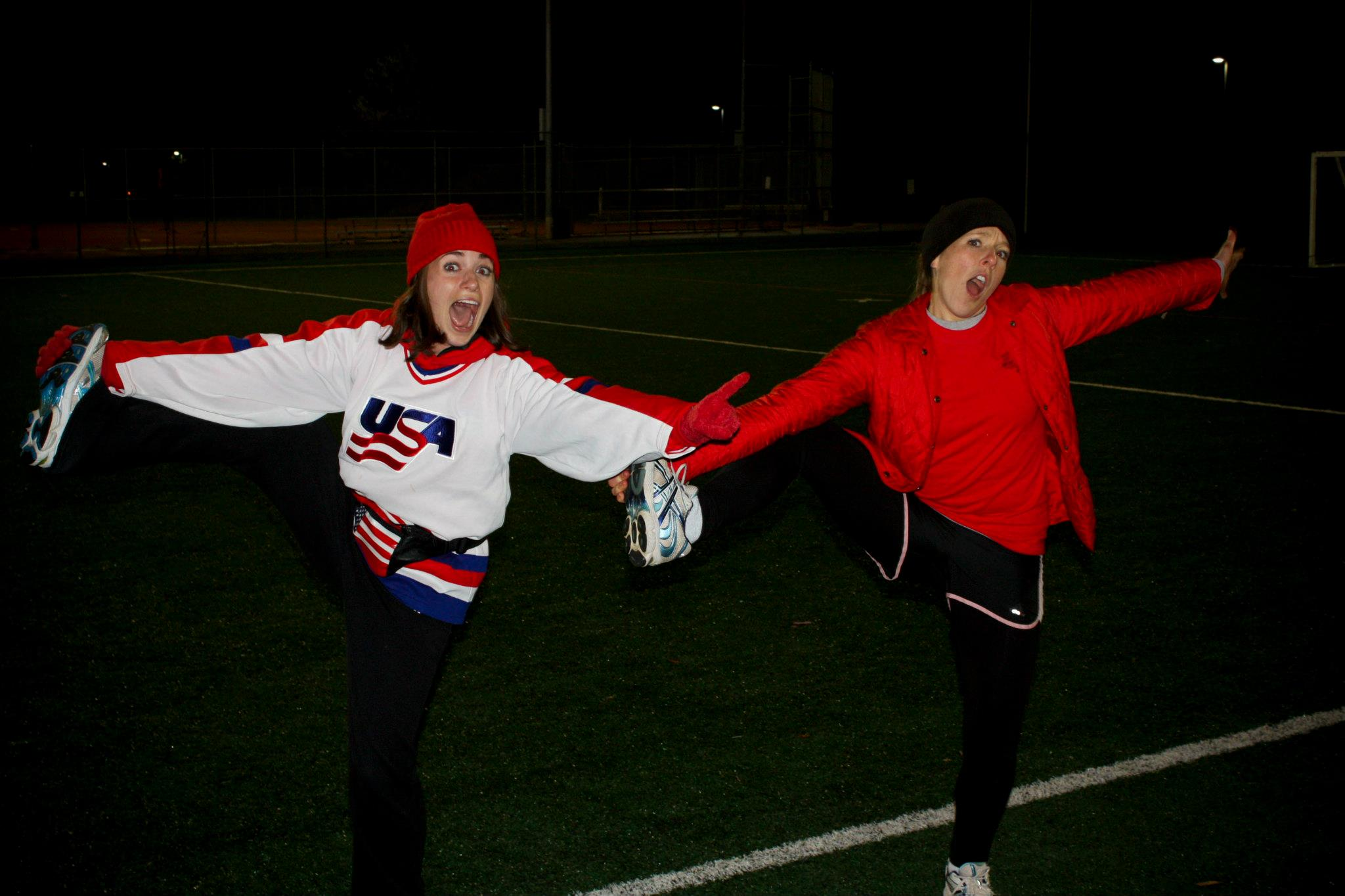 To bring the interview to a close, I HAD to throw in this photo of Sarah and I from a few years back. Because we are the sexiest cheerleaders that the Medical Football League (MFL) has ever seen.