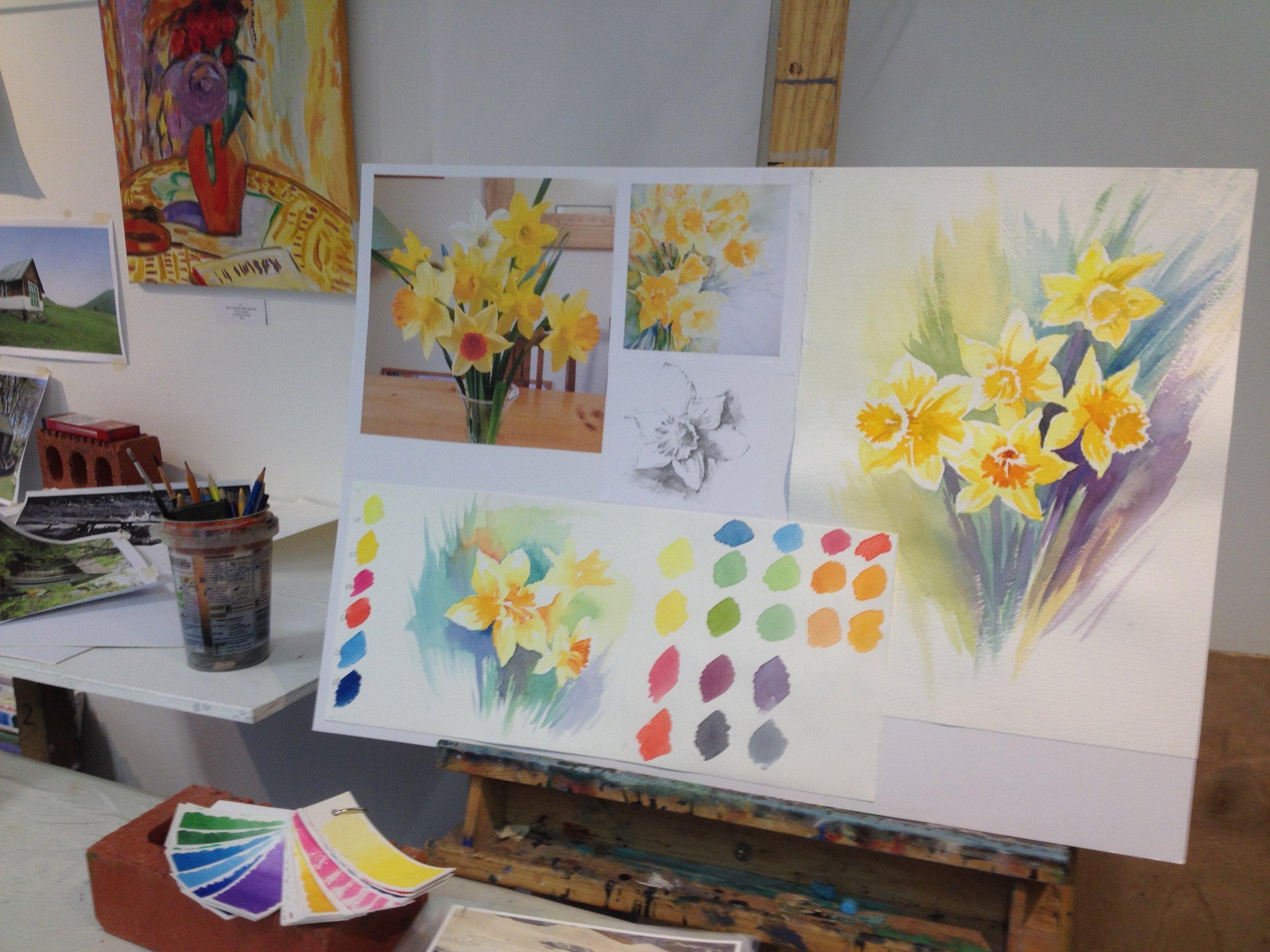Daffodils in watercolour teaching board