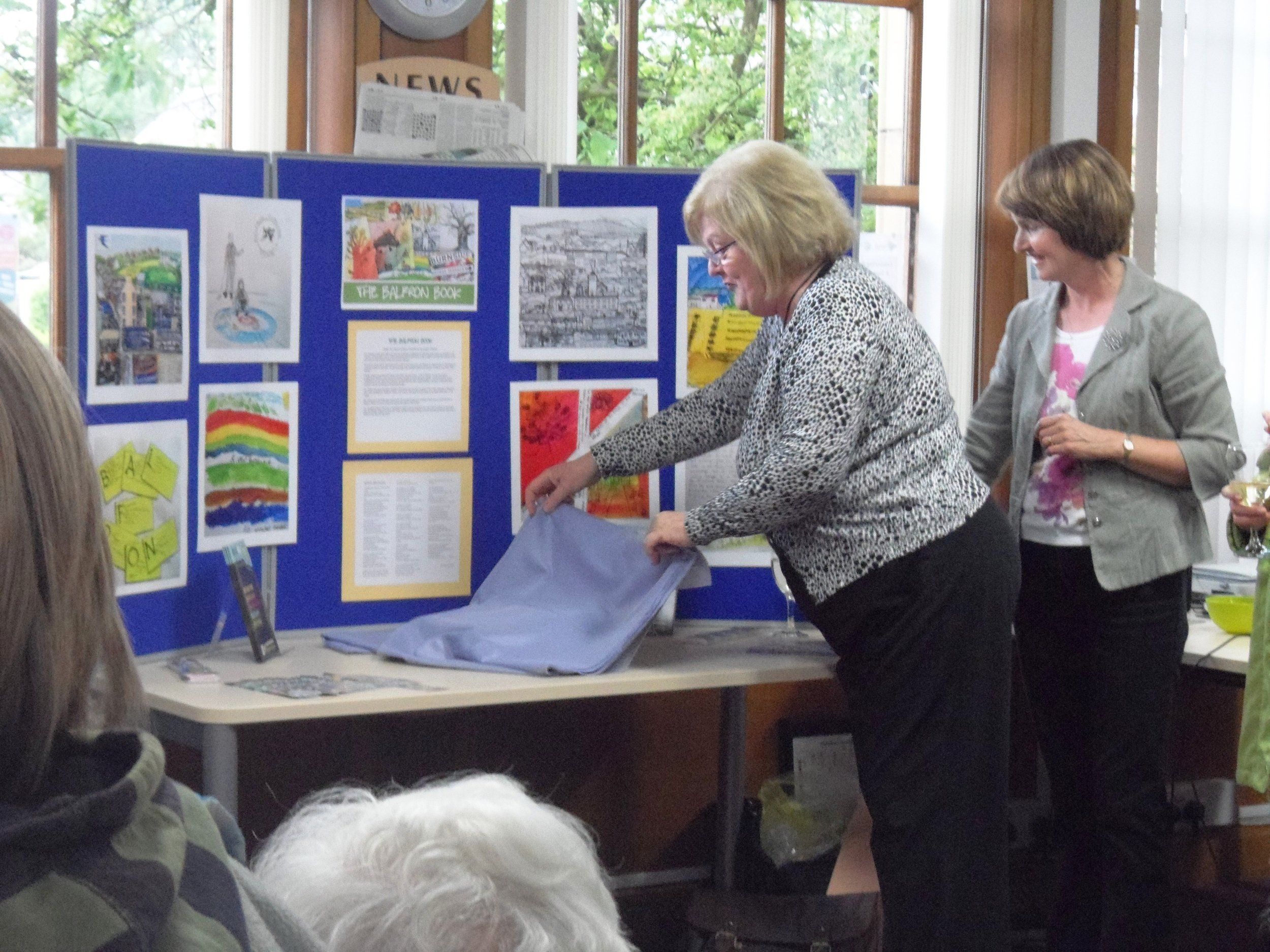 Unveiling of the finished book in Balfron library