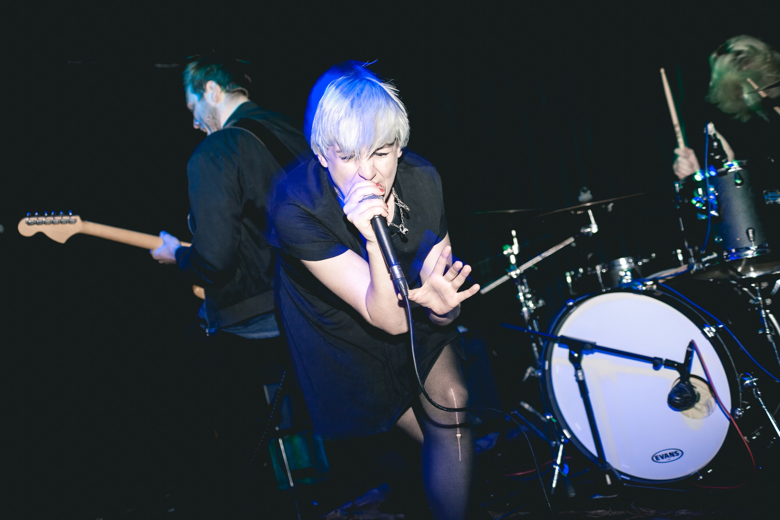 Vocalist Chlo Edwards giving it everything performing with hardcore band Vales in London