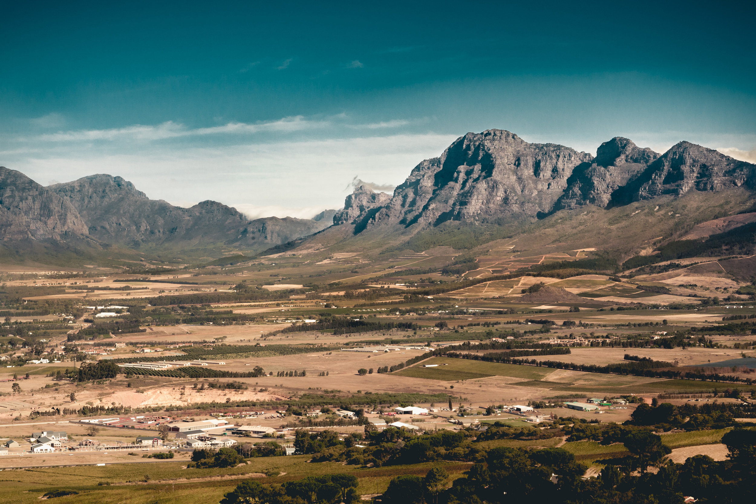 Hottentots-Holland Mountain Range viewed from the Afrikaans Language Monument in Paarl, Cape Town, South Africa