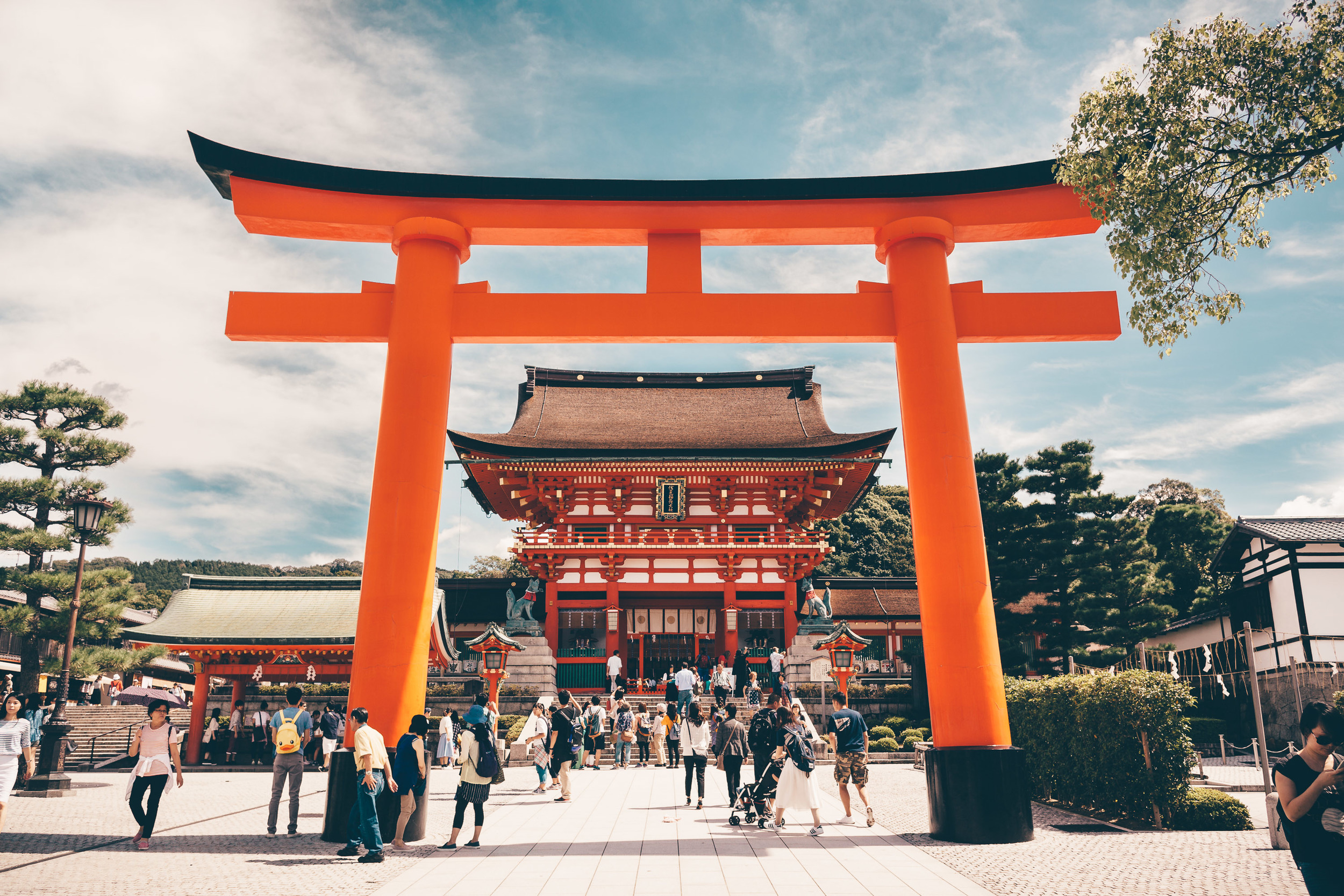 Giant Torii Gate at the entrance to Fushimi Inari Shrine in Kyoto, Japan.