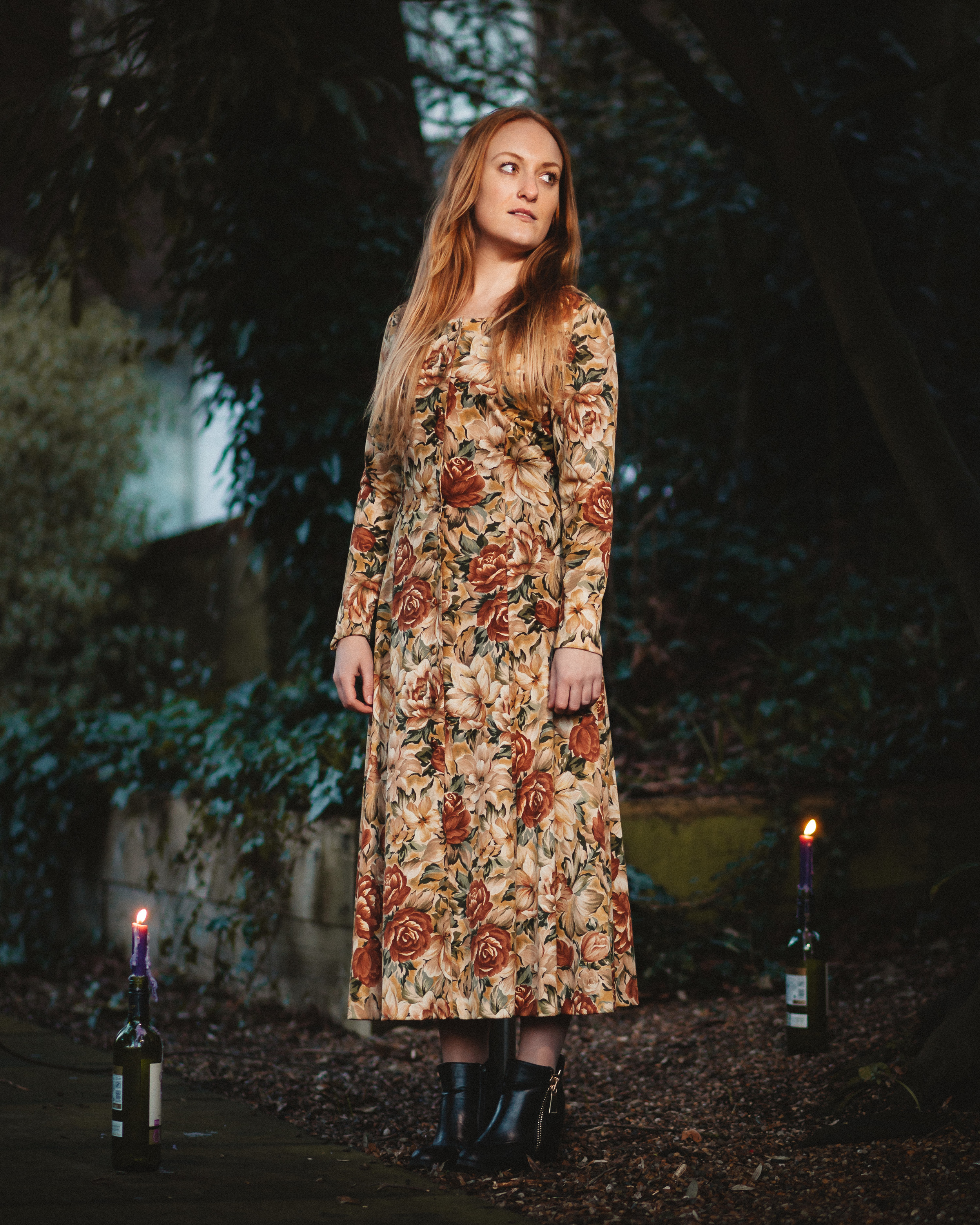 Vintage Fashion and Candles - Portrait of Vanessa posing in a vintage floral dress, purchased on Shimokitazawa, Tokyo.