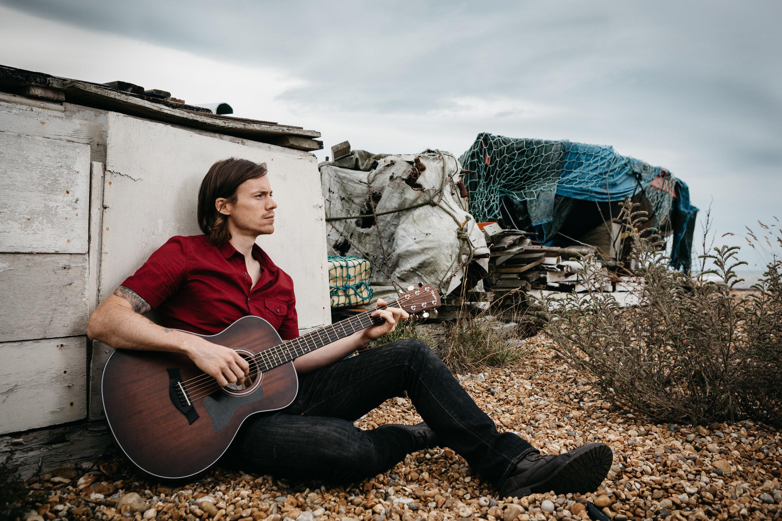 Performance Promo Shot of Singer Songwriter Scott Swain at Dungeness, Kent