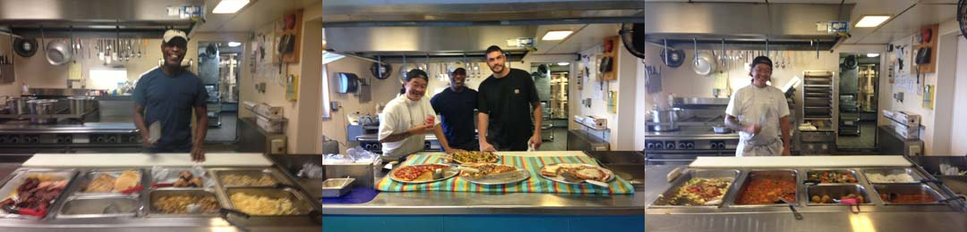 A sampling of the meals served onboard with cooked by the always smiling galley staff.    From left to right breakfast, lunch, and dinner.   In the center image the galley staff made up of June, Hervin, and Brian pose behind a lunch of pizza and soda.