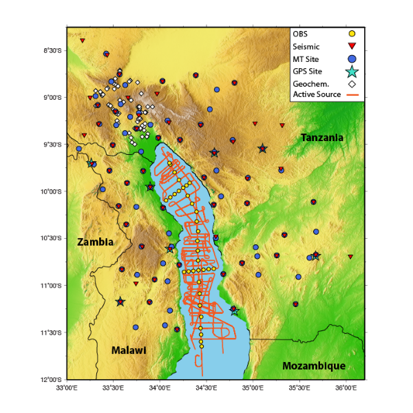 Overview of the  SEGMeNT  experiment. I participated in the acquisition of the passive source (red triangles) and active source (yellow circles and orange lines) seismic data. Background colors shows elevation from  Etopo1 .