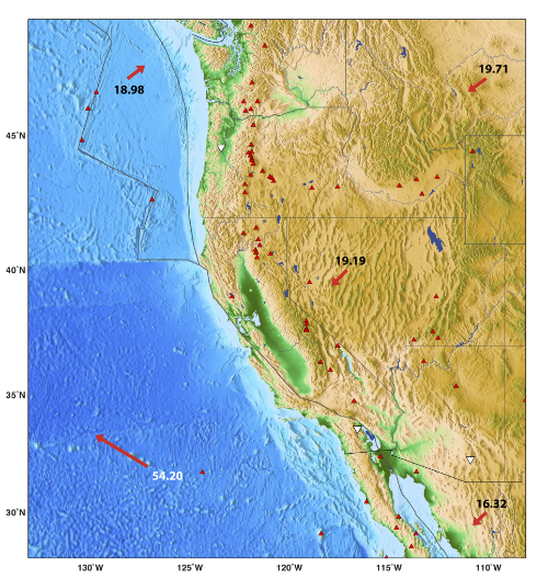 Tectonic map of western North America. Background colors indicate elevation from  ETOPO1 . Red triangles are Quaternary to recent volcanoes from the  Smithsonian Global Volcanism Project . White upside-down triangle indicate seismometers from the  Global Seismographic Network  (GSN). Red vectors indicate relative plate motion calculated with the  UNAVCO Plate Motion Calculator.