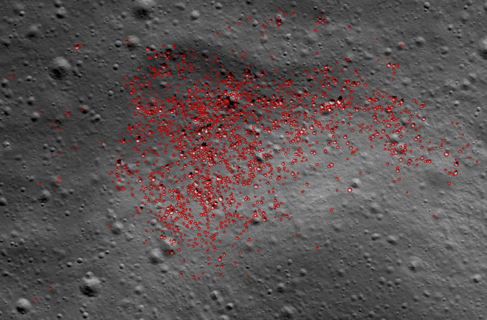 Example of picking boulders in satellite images of the Moon. The image is ~ 500 m across and comes from the lunar region called  Compton-Belkovich . Image was taken as a part of the  Lunar Reconnaissance Orbite r mission.